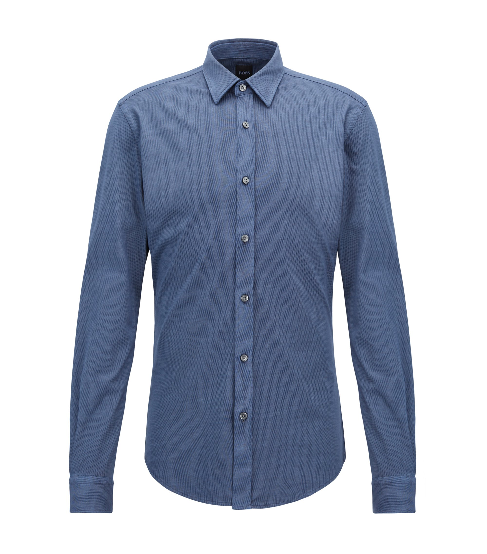 Slim-fit shirt in printed single-jersey cotton , Open Blue