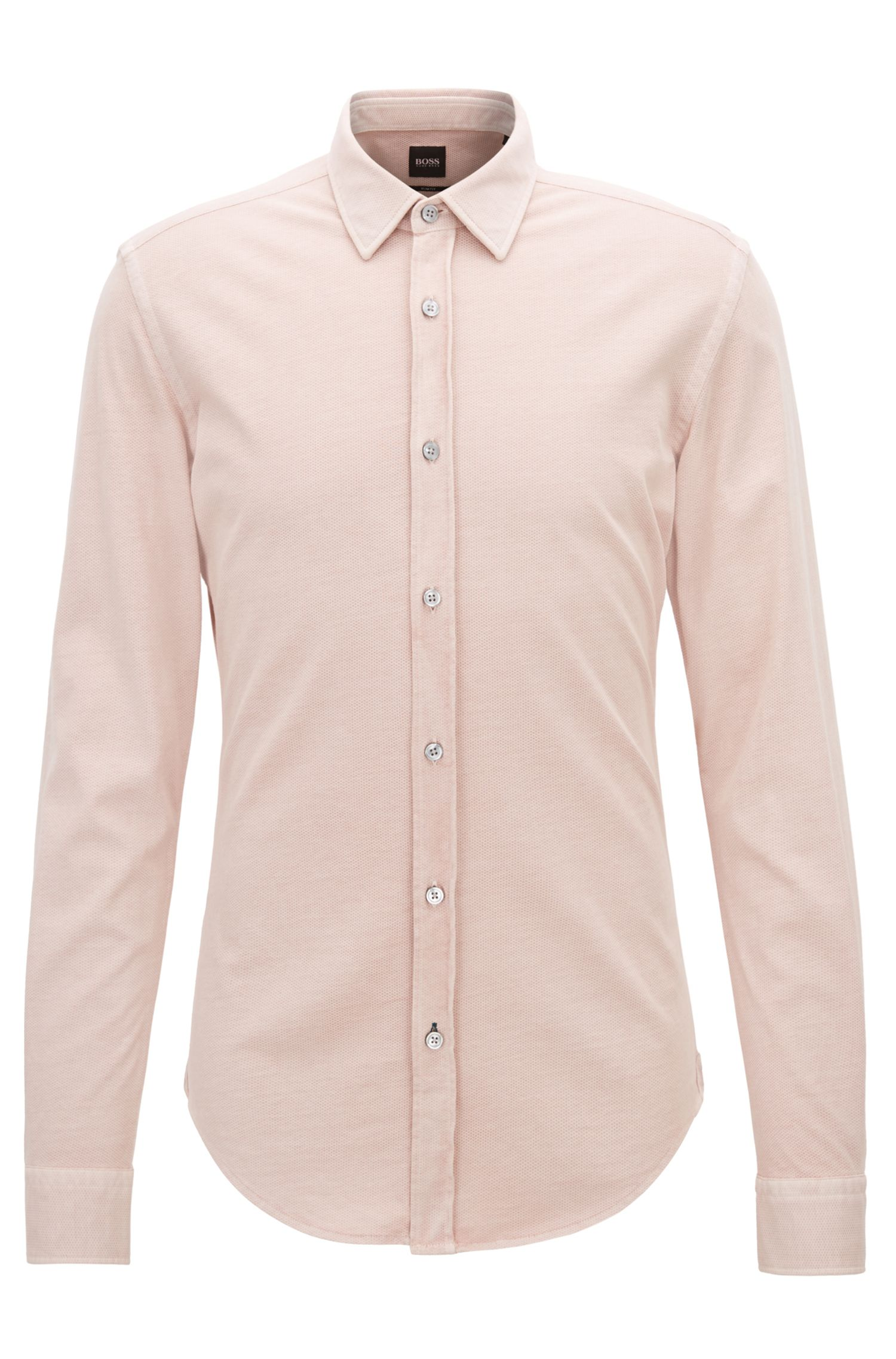 Slim-fit shirt in printed single-jersey cotton , Light Red