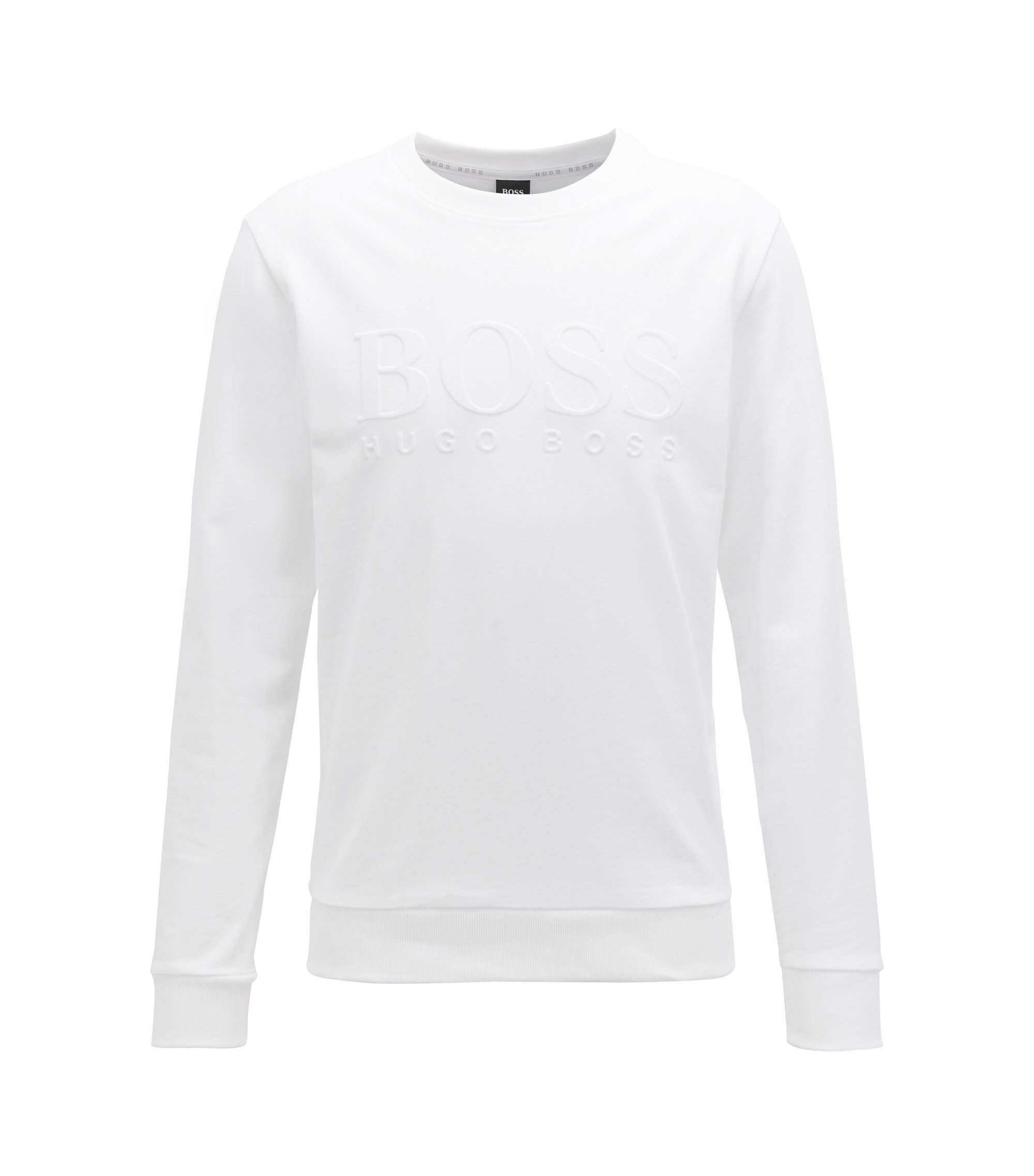 French-terry sweatshirt with embossed logo, White