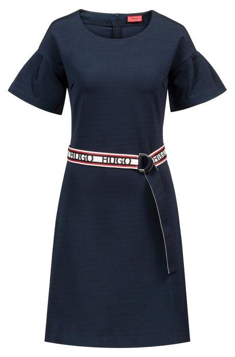 Tulip-sleeve jersey dress with reversible logo-tape belt, Open Blue