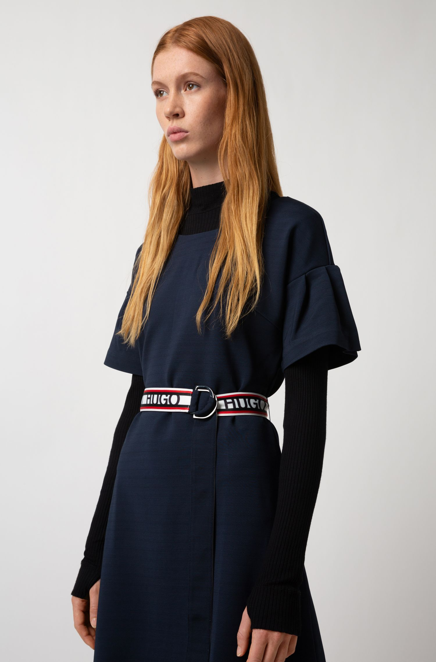 Tulip-sleeve jersey dress with reversible logo-tape belt, Open Blue
