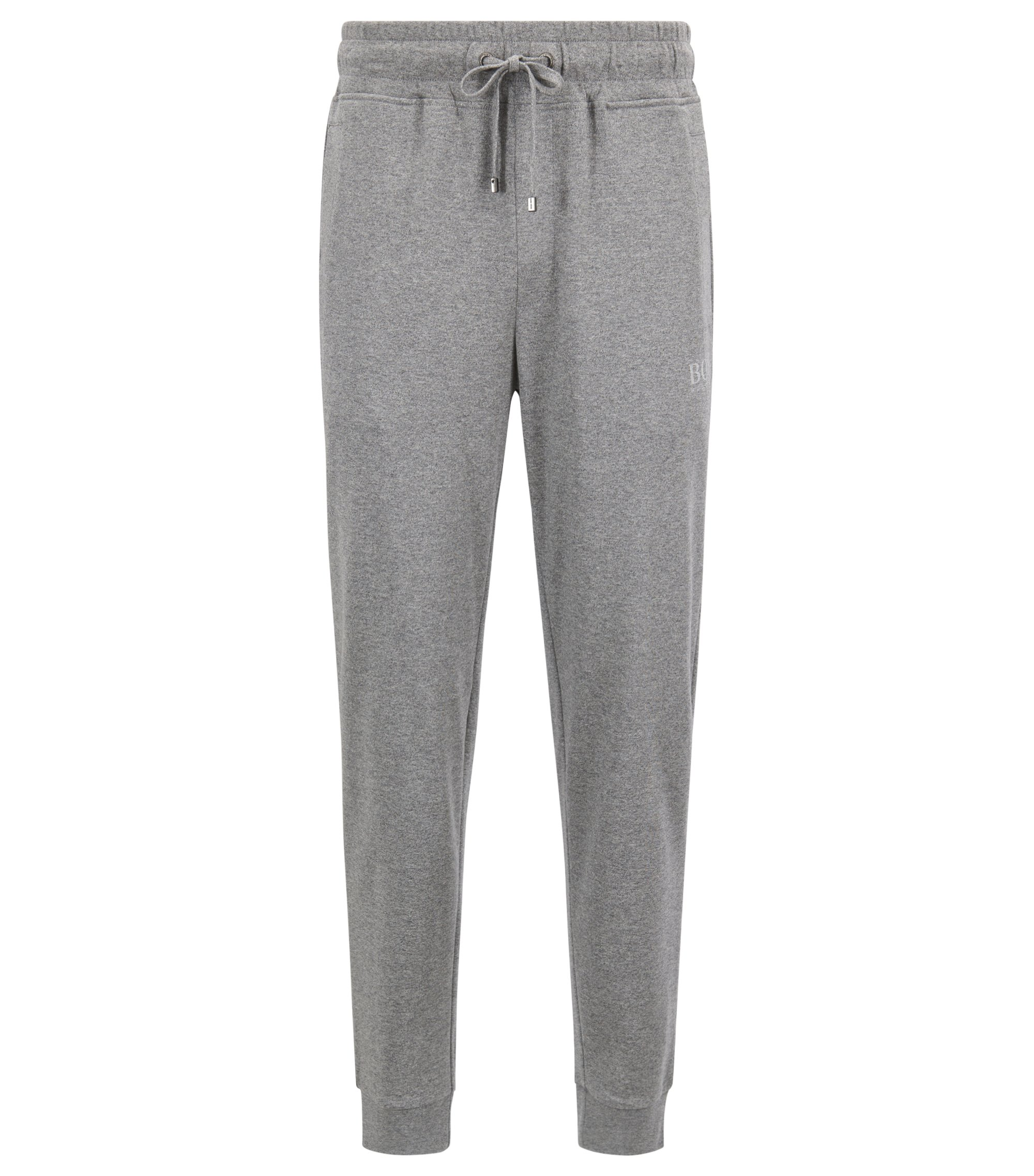 Loungewear pants in mélange single-jersey cotton, Grey