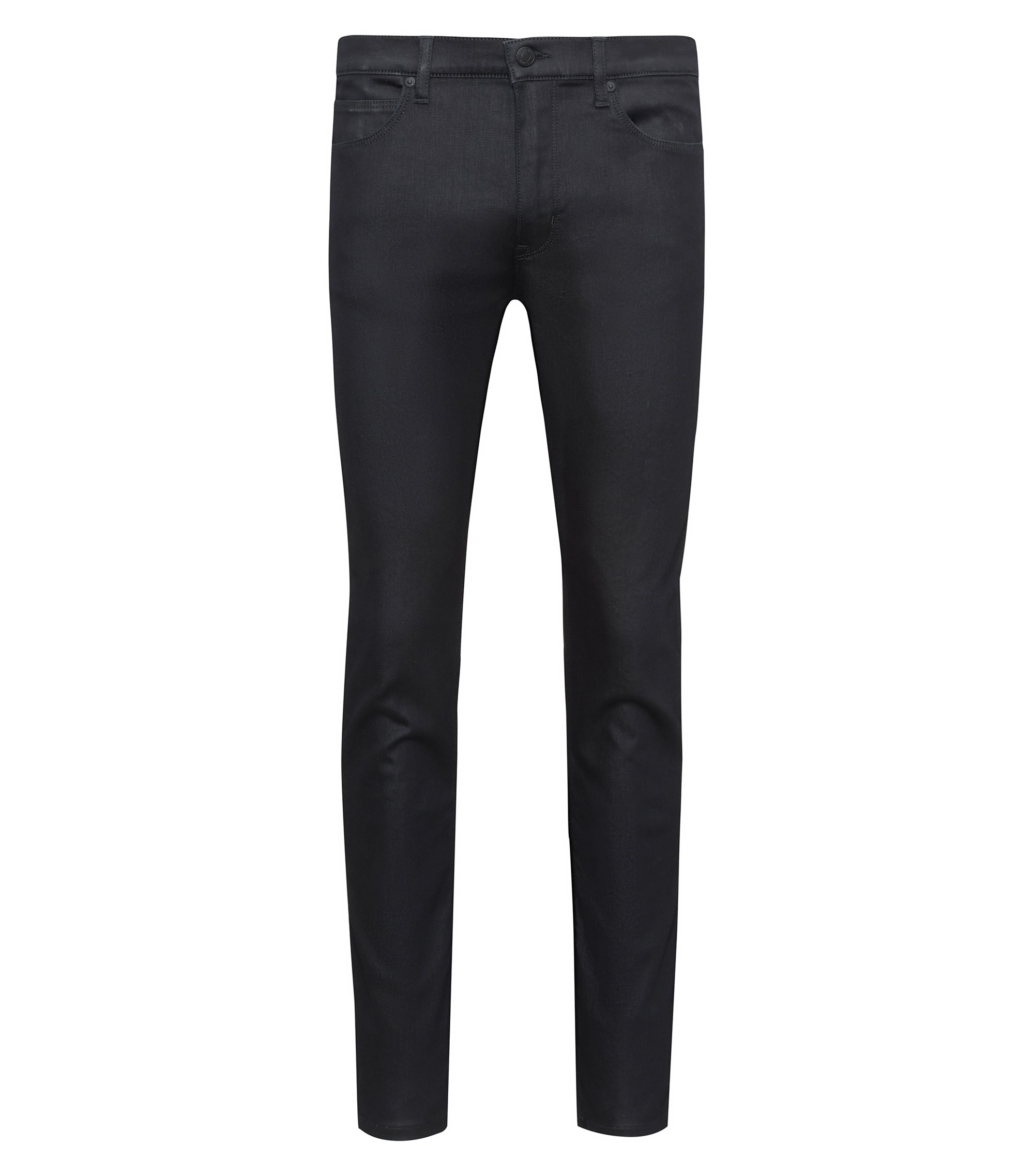 Skinny-fit black jeans with contrast stripe, Black