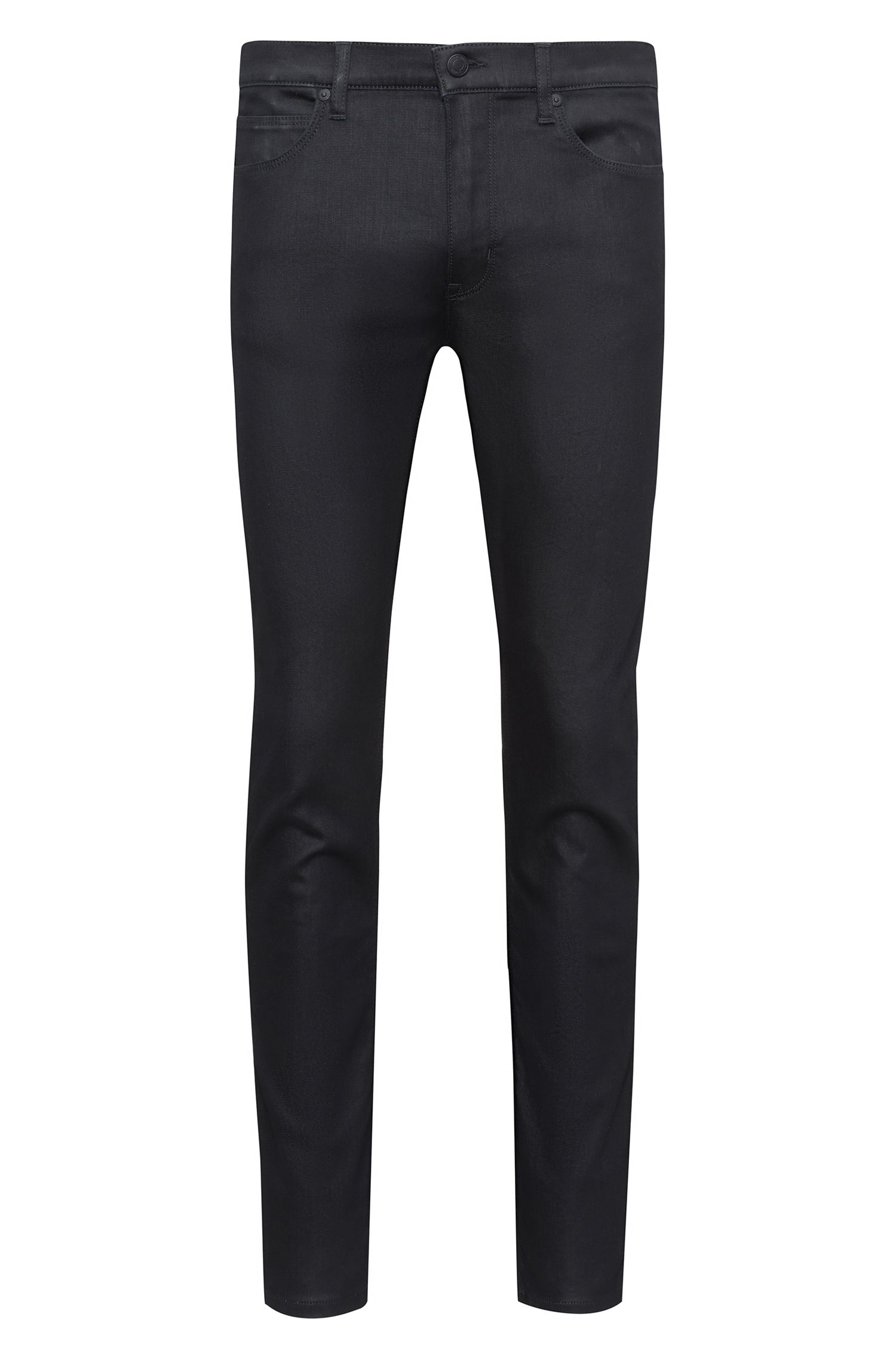 Skinny-fit black jeans with contrast stripe