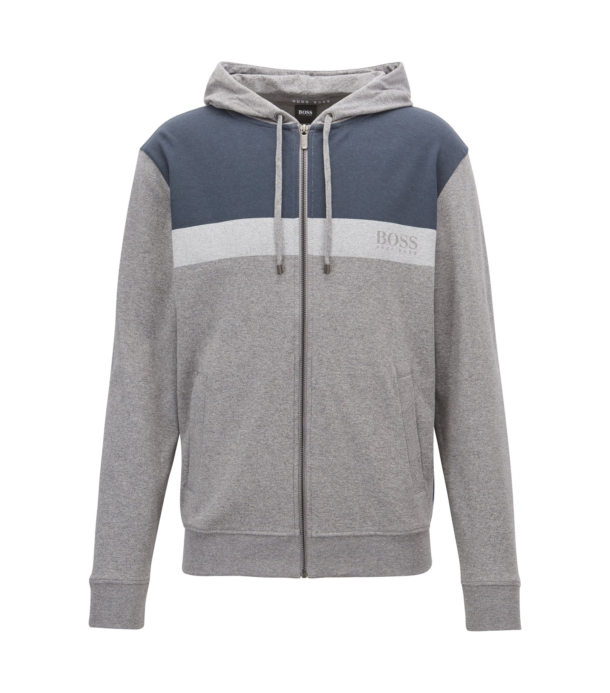 Colorblock loungewear hoodie in cotton jersey, Grey