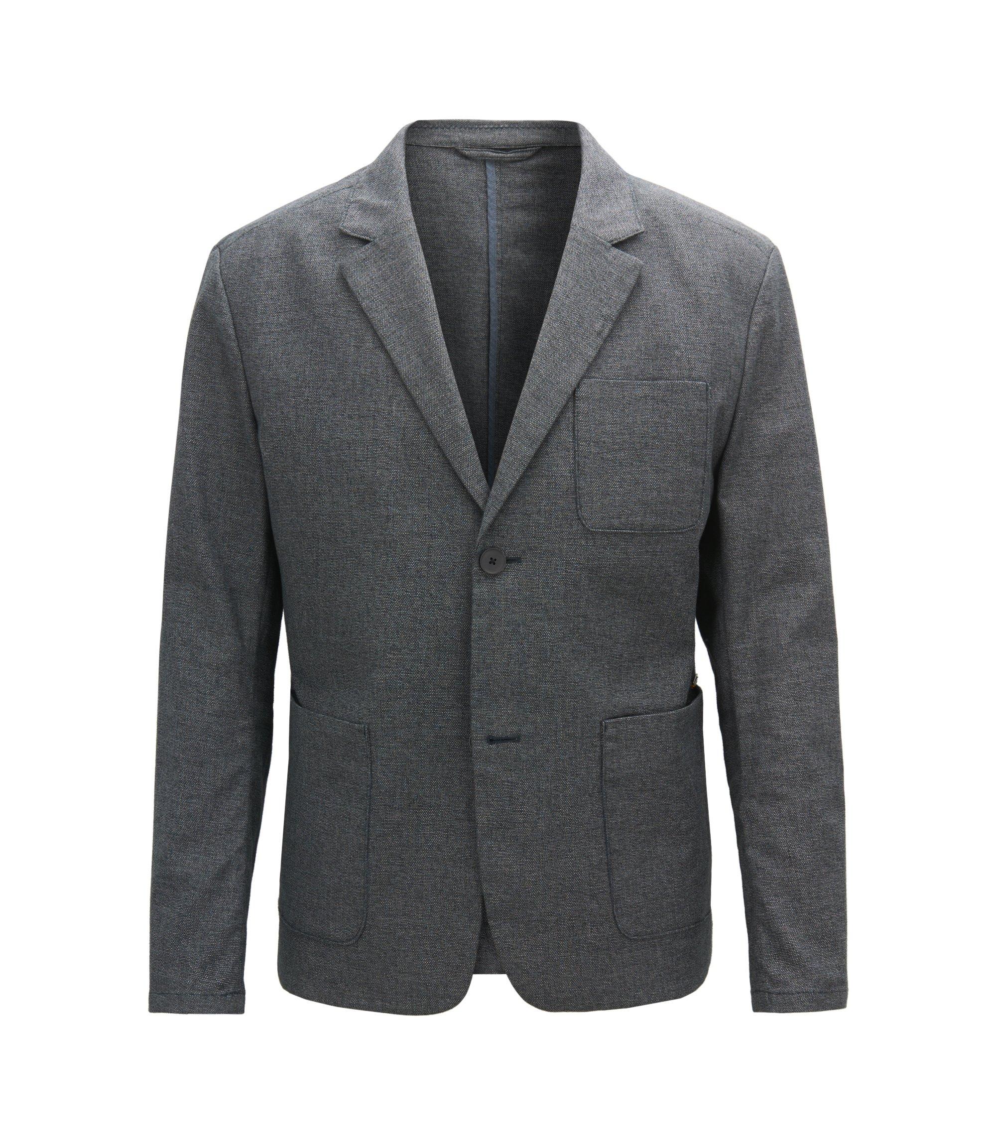 Slim-fit blazer in two-tone stretch cotton, Dark Blue