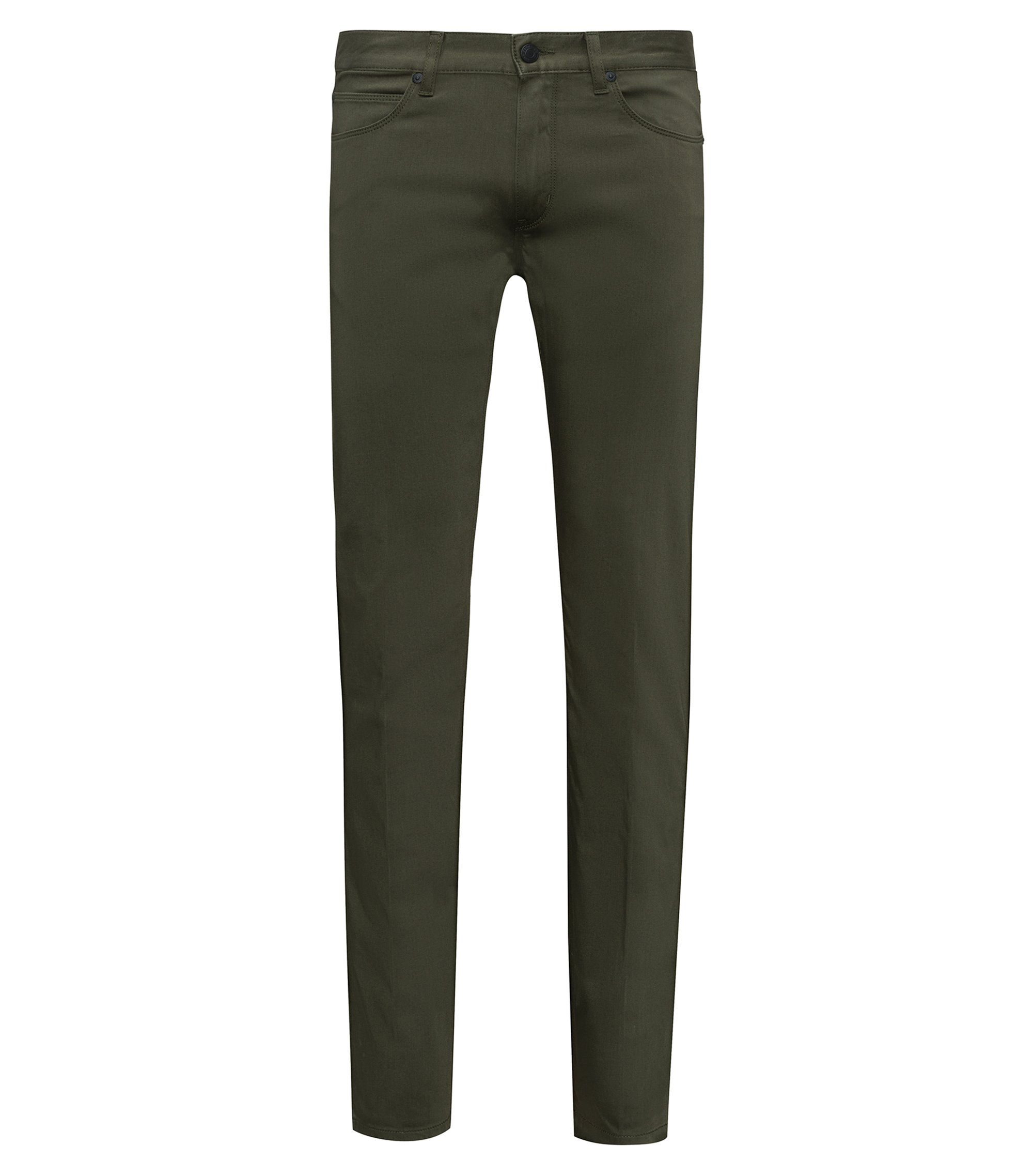 Slim-fit jeans in stretch denim with contrast piping, Dark Green