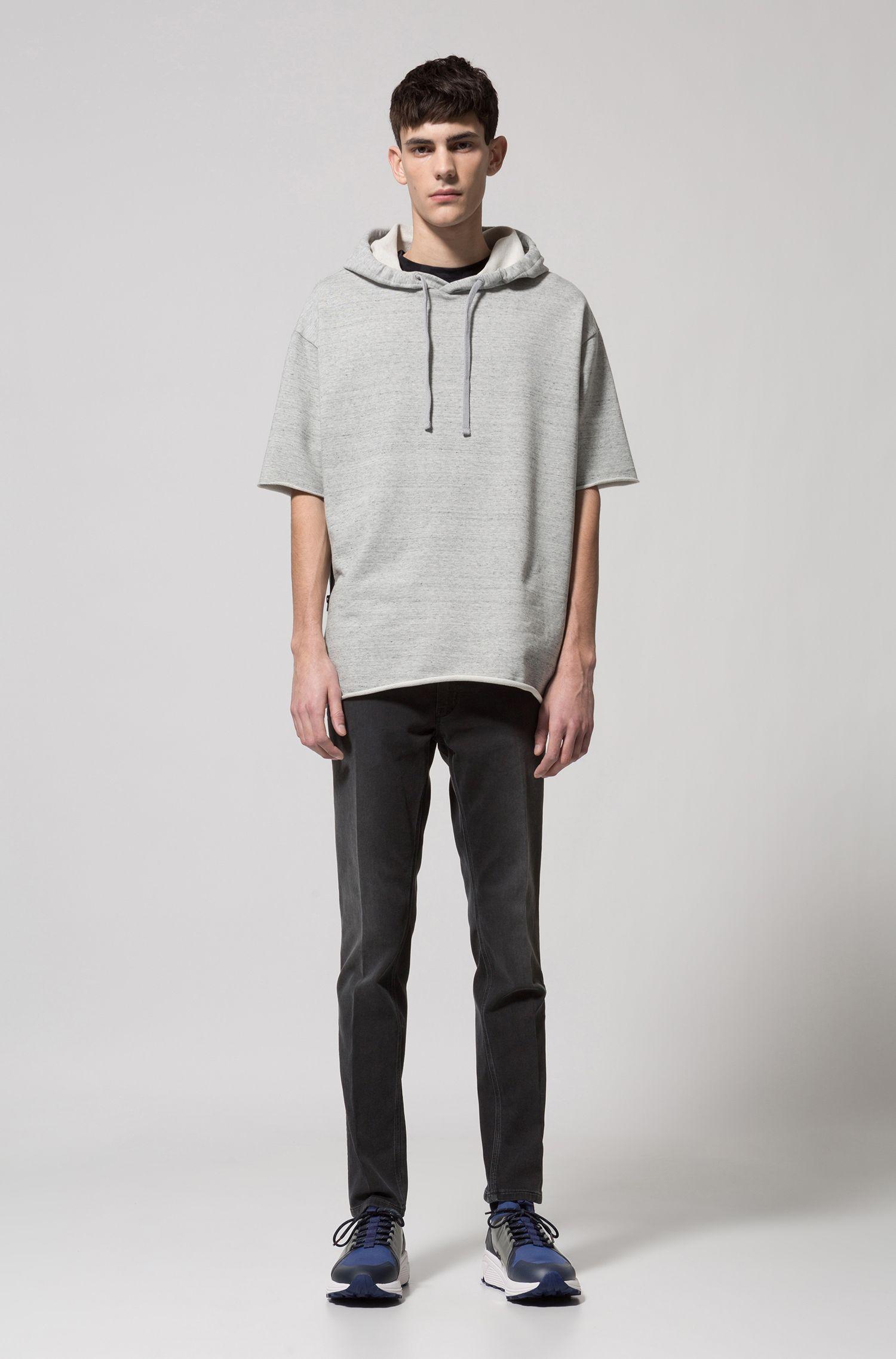 Skinny-leg jeans in dark-gray stretch denim
