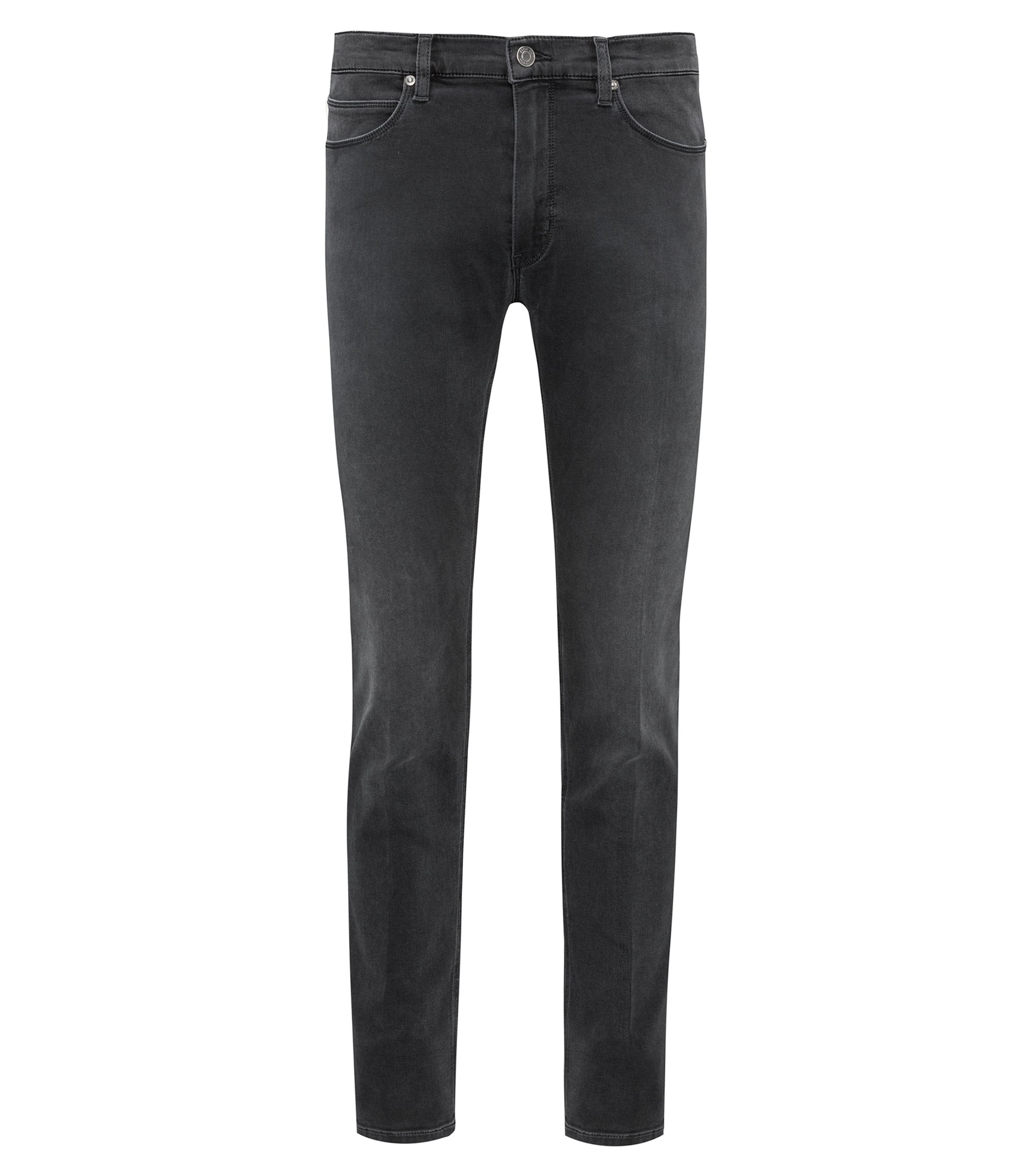 Skinny-leg jeans in dark-gray stretch denim, Dark Grey