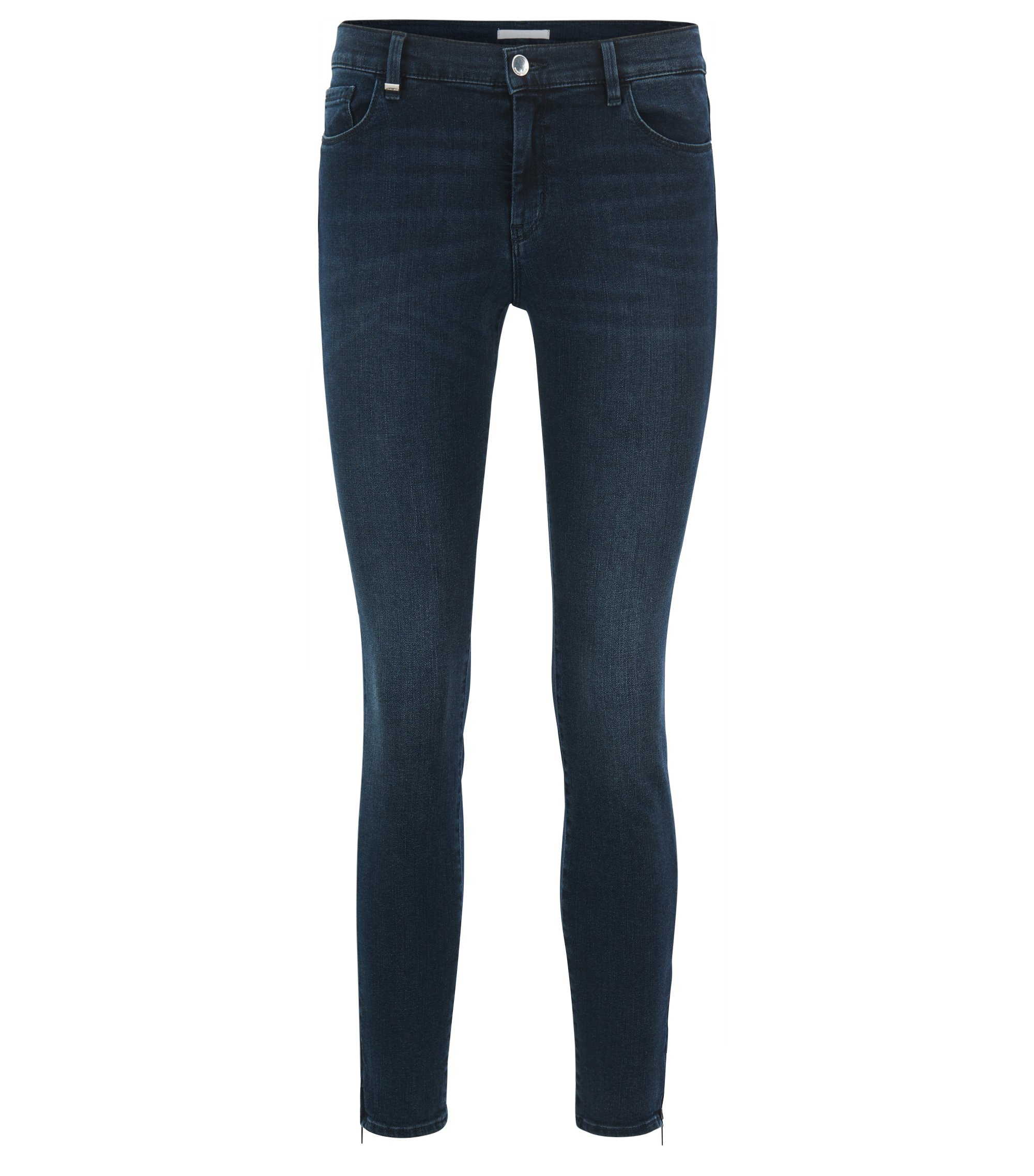 Slim-fit super-stretch denim jeans with zippered hems, Dark Blue