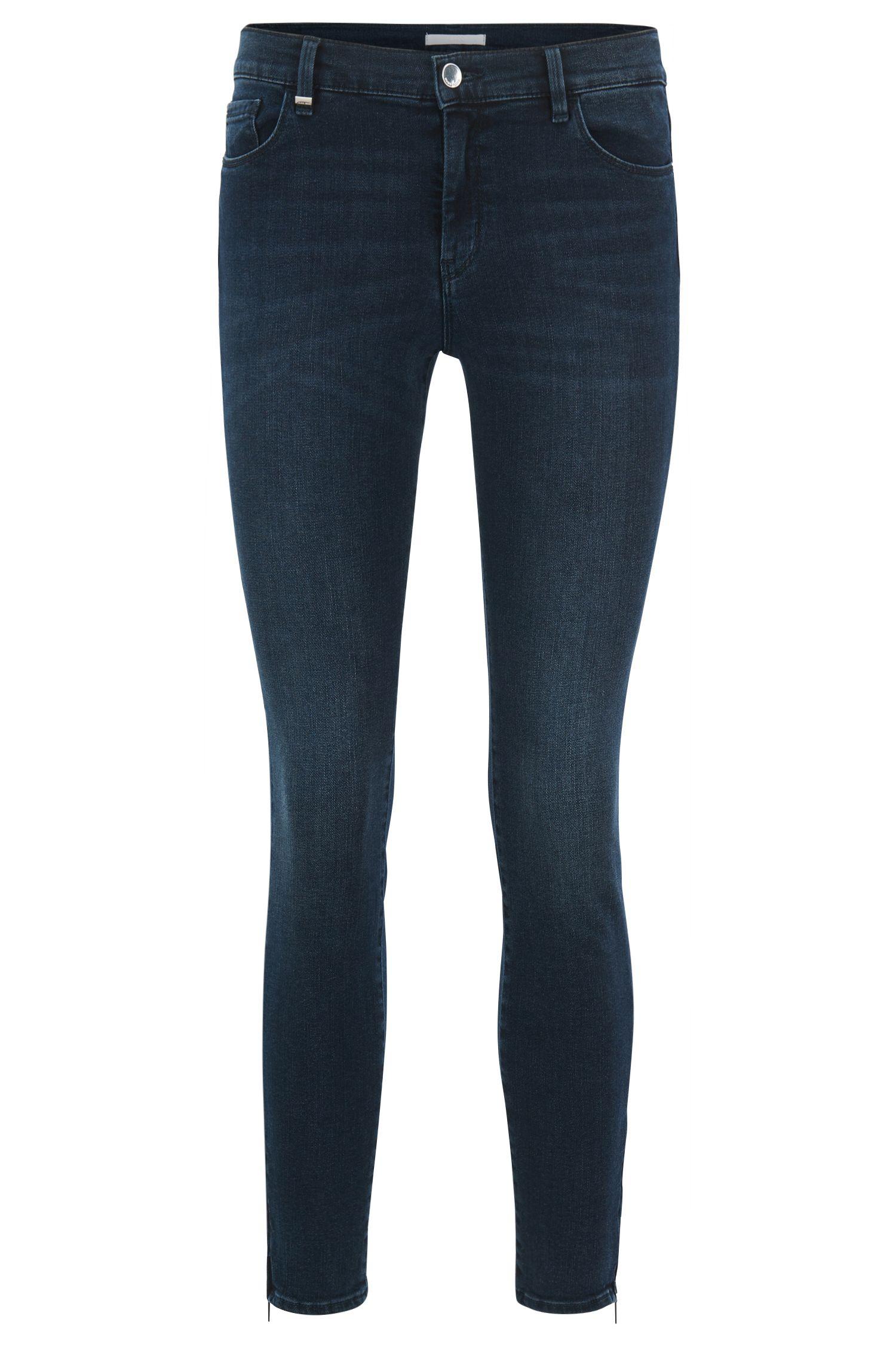 Slim-fit super-stretch denim jeans with zippered hems, Dark Blue