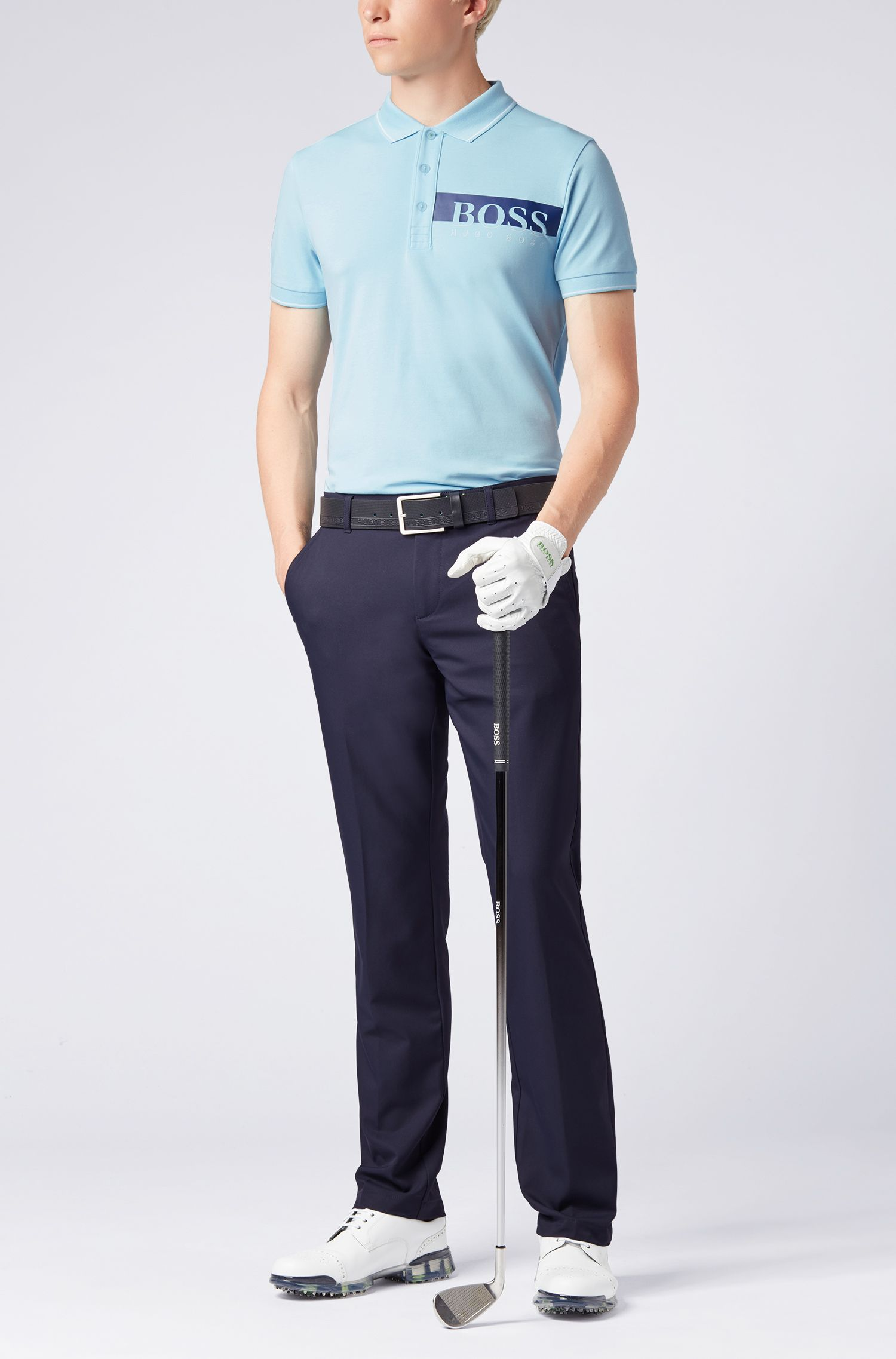 Slim-fit polo shirt with moisture-management, Dark Blue