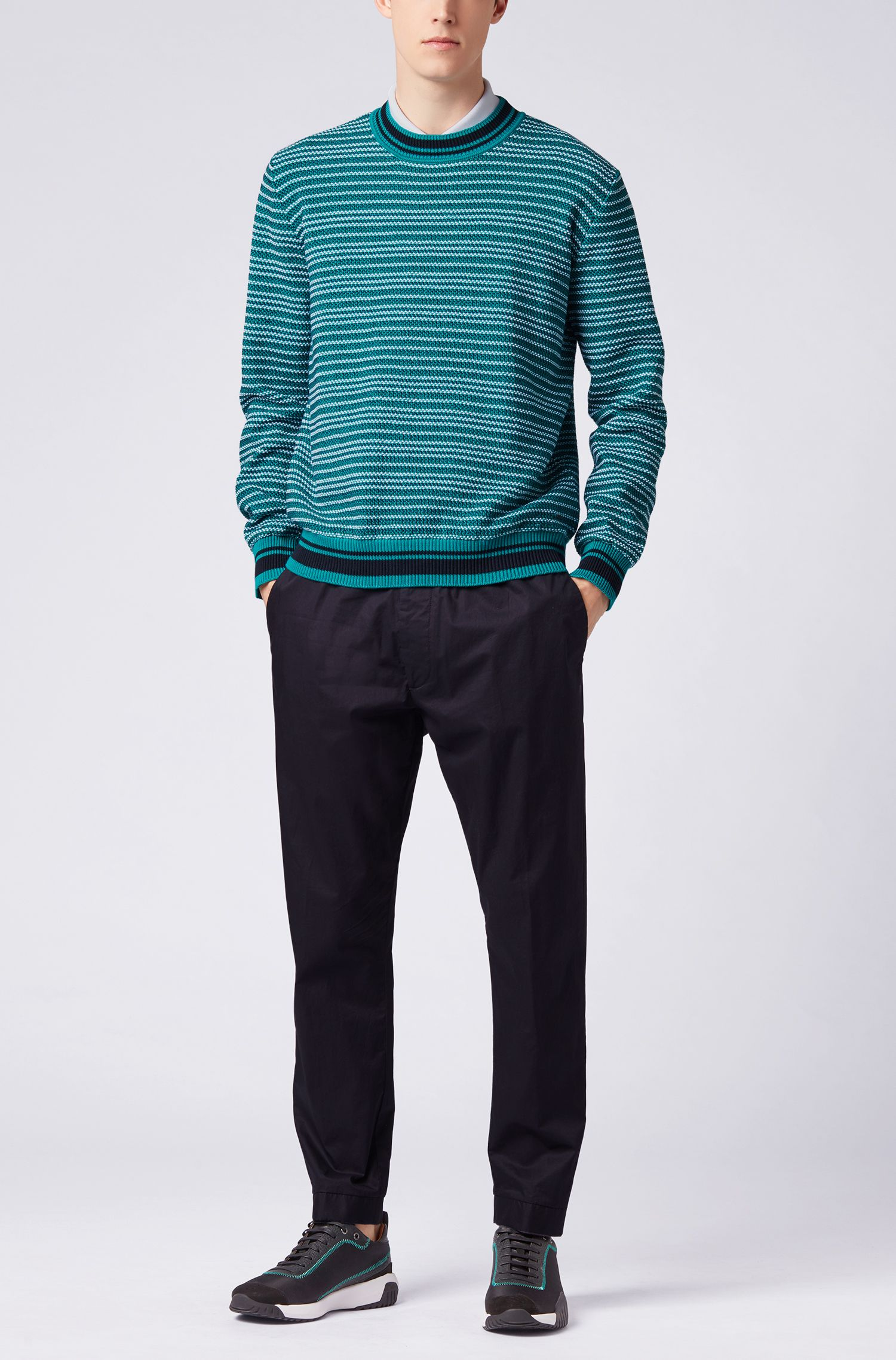 Multi-textured striped sweater in cotton jacquard