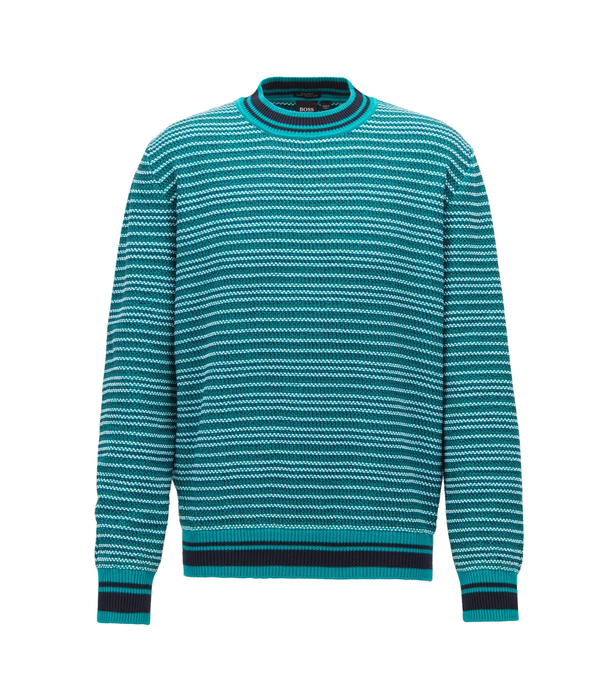 Multi-textured striped sweater in cotton jacquard, Green