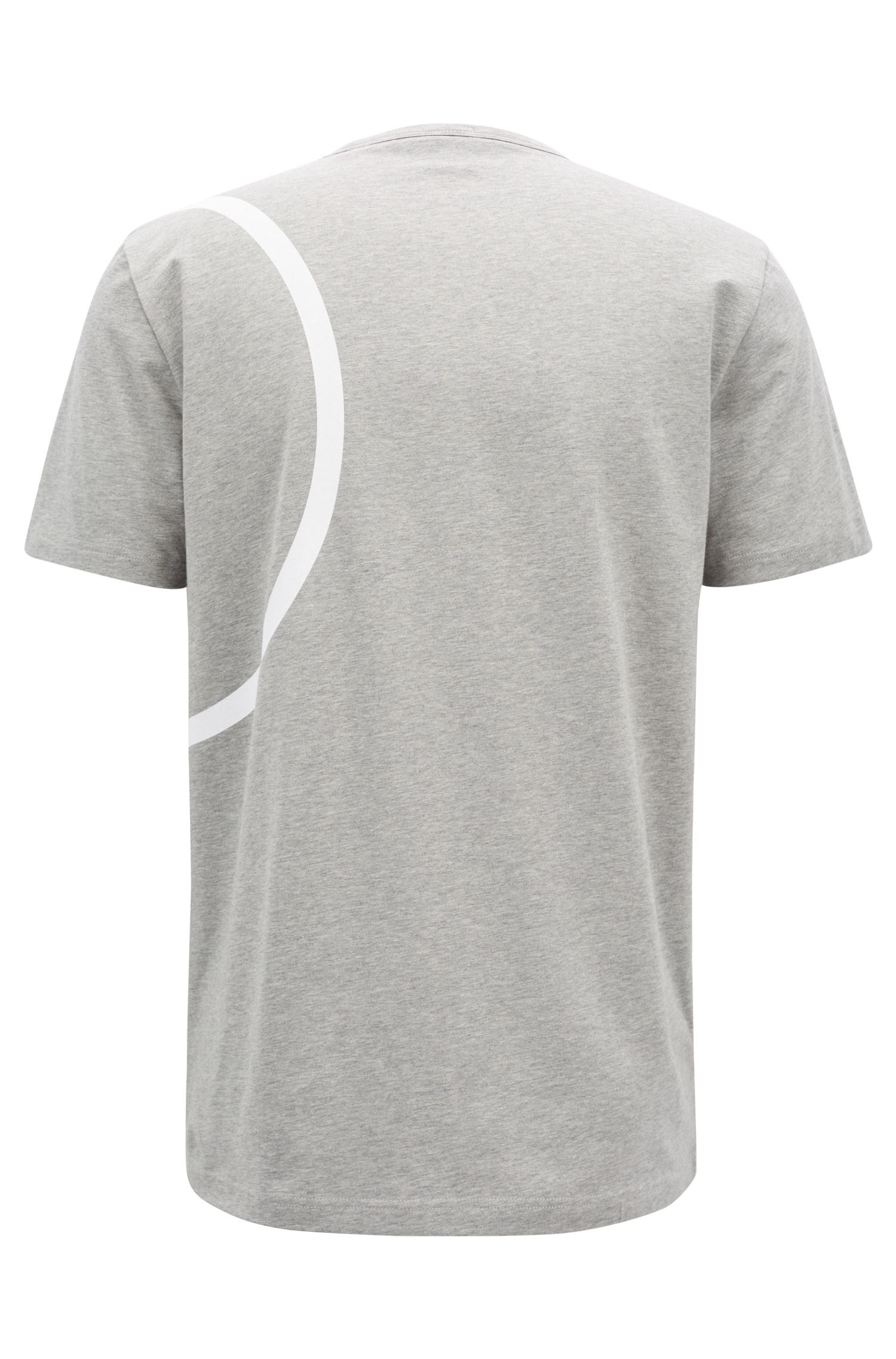 Stretch-cotton jersey T-shirt with placement print, Light Grey