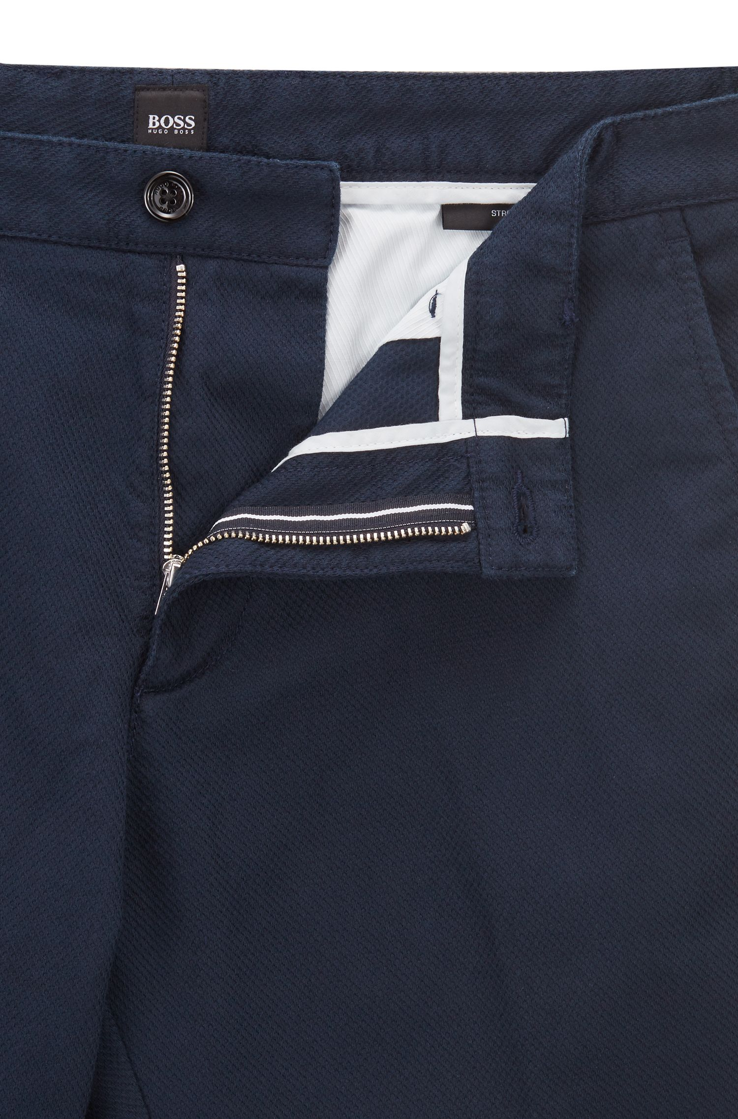 Regular-fit chinos in structured stretch cotton, Dark Blue