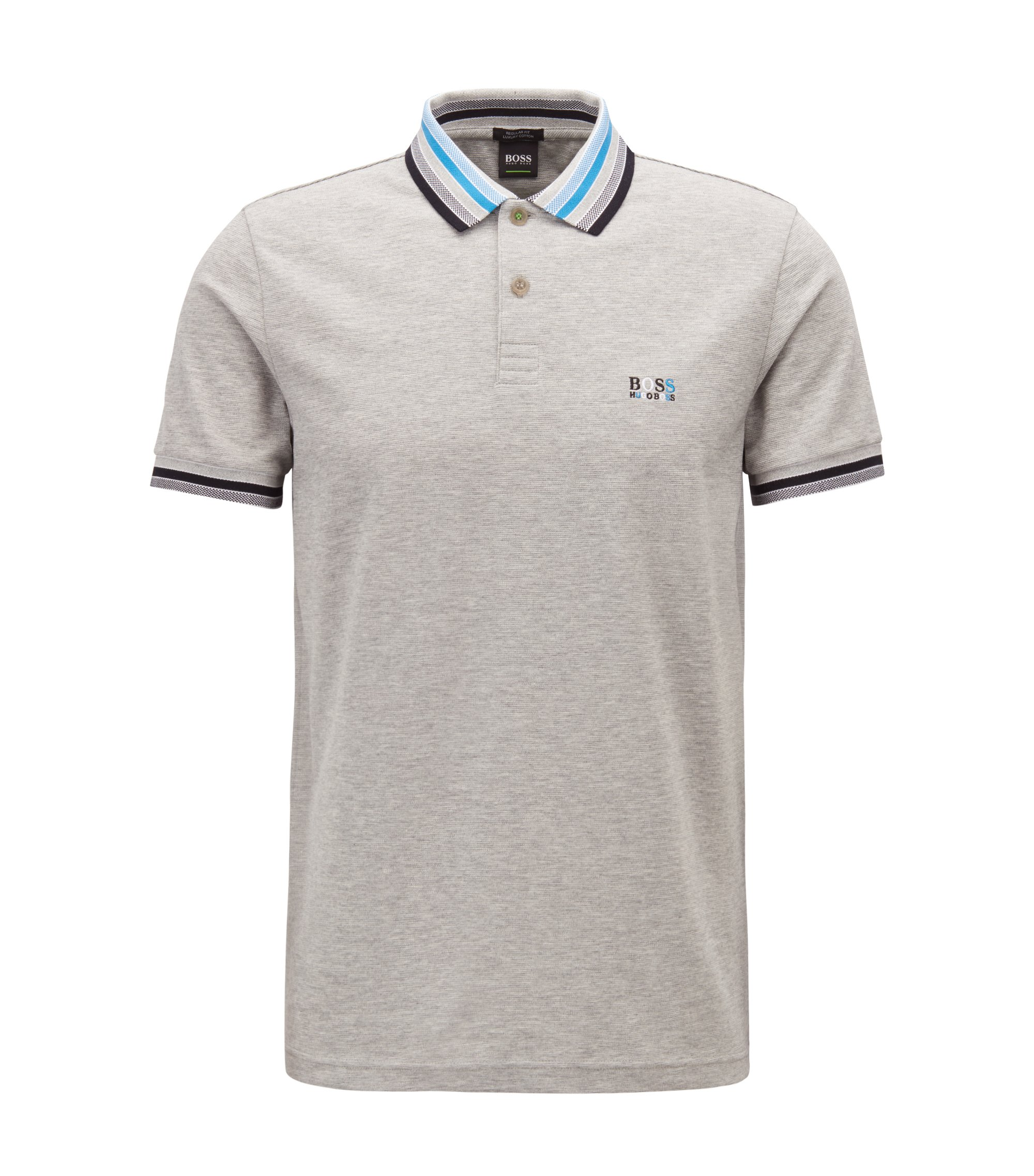 Cotton-piqué polo shirt with multicolored degradé collar, Light Grey