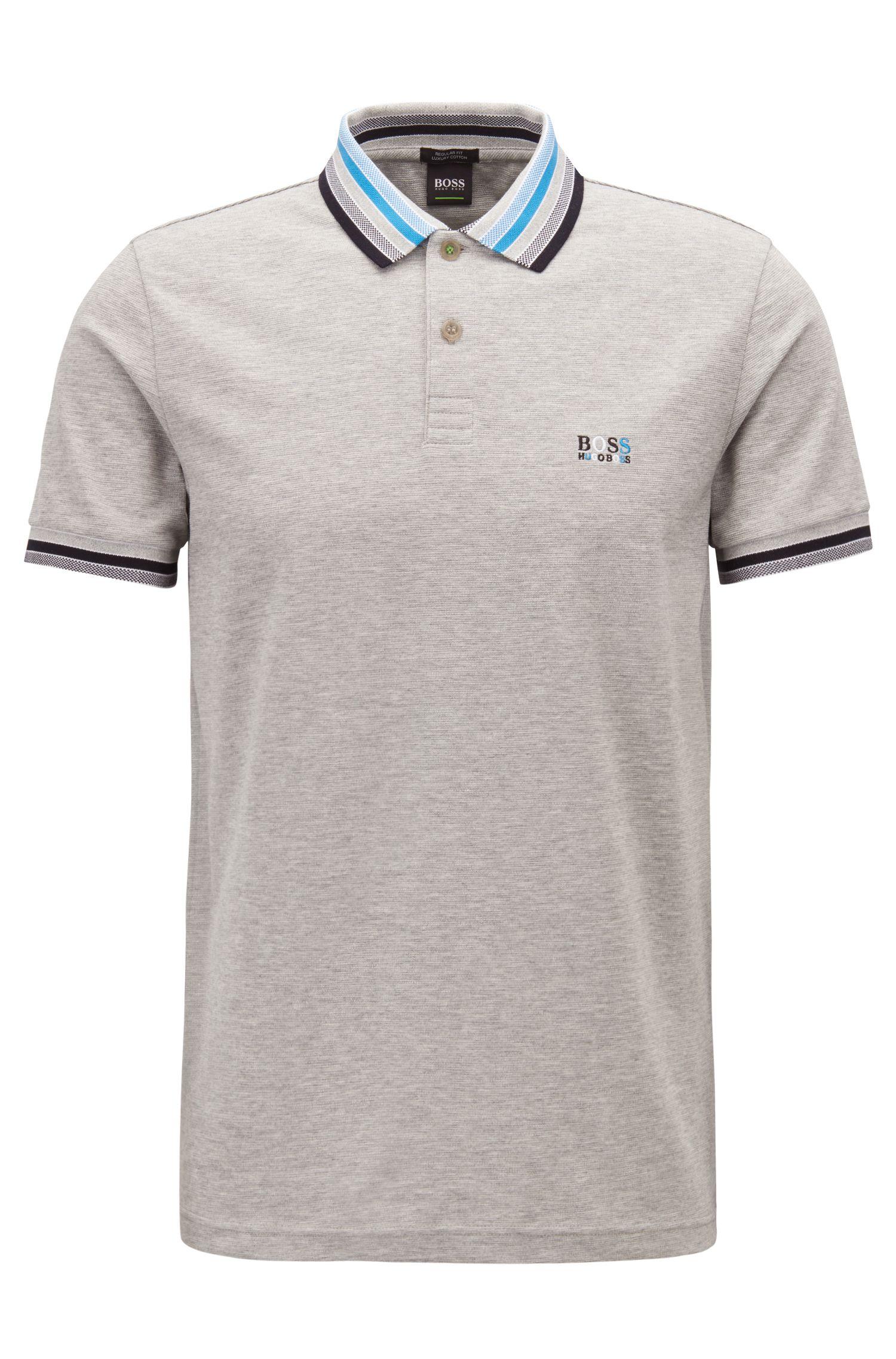 Cotton-piqué polo shirt with multicolored degradé collar, Light Grey