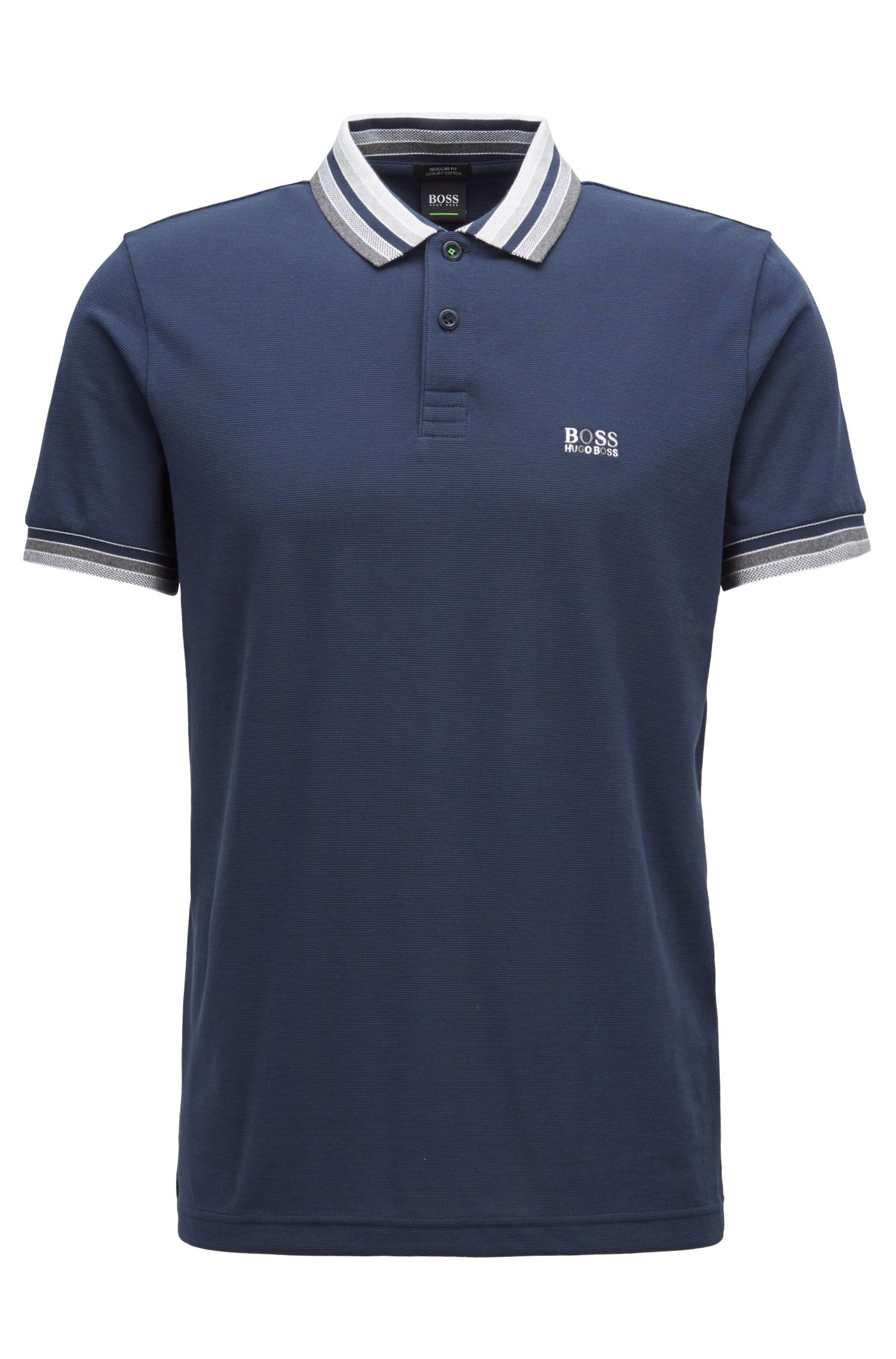 Cotton-piqué polo shirt with multicolored degradé collar, Dark Blue
