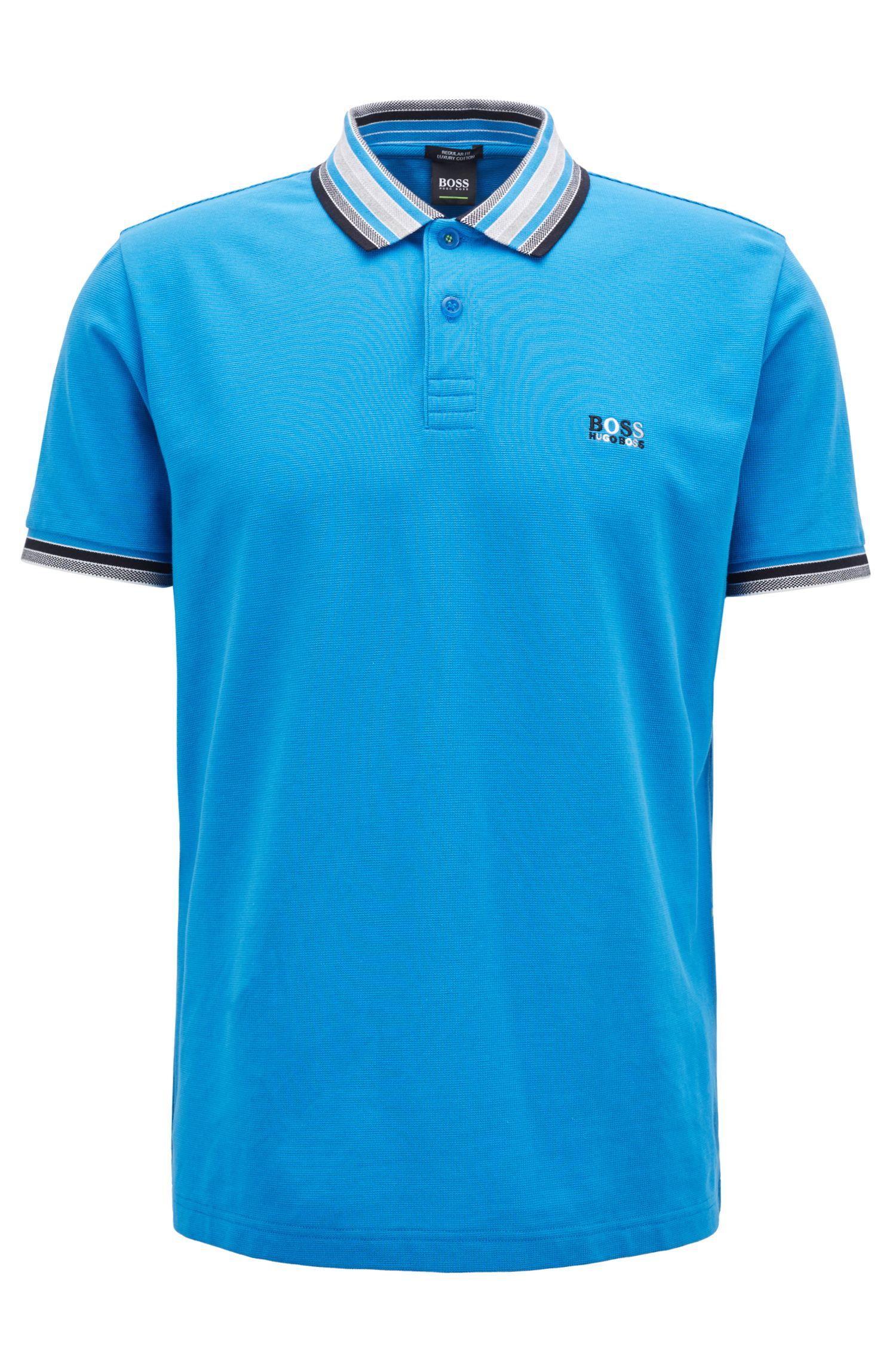 Cotton-piqué polo shirt with multicolored degradé collar, Blue