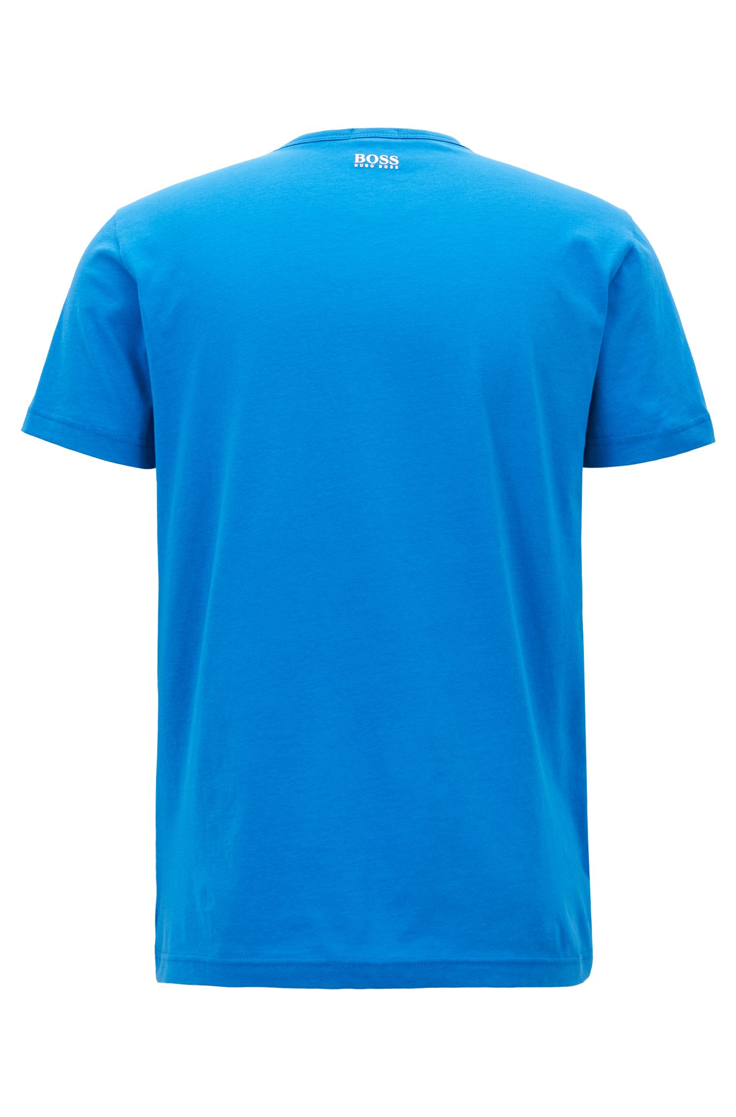 Crew-neck T-shirt with multi-colored logo print, Blue