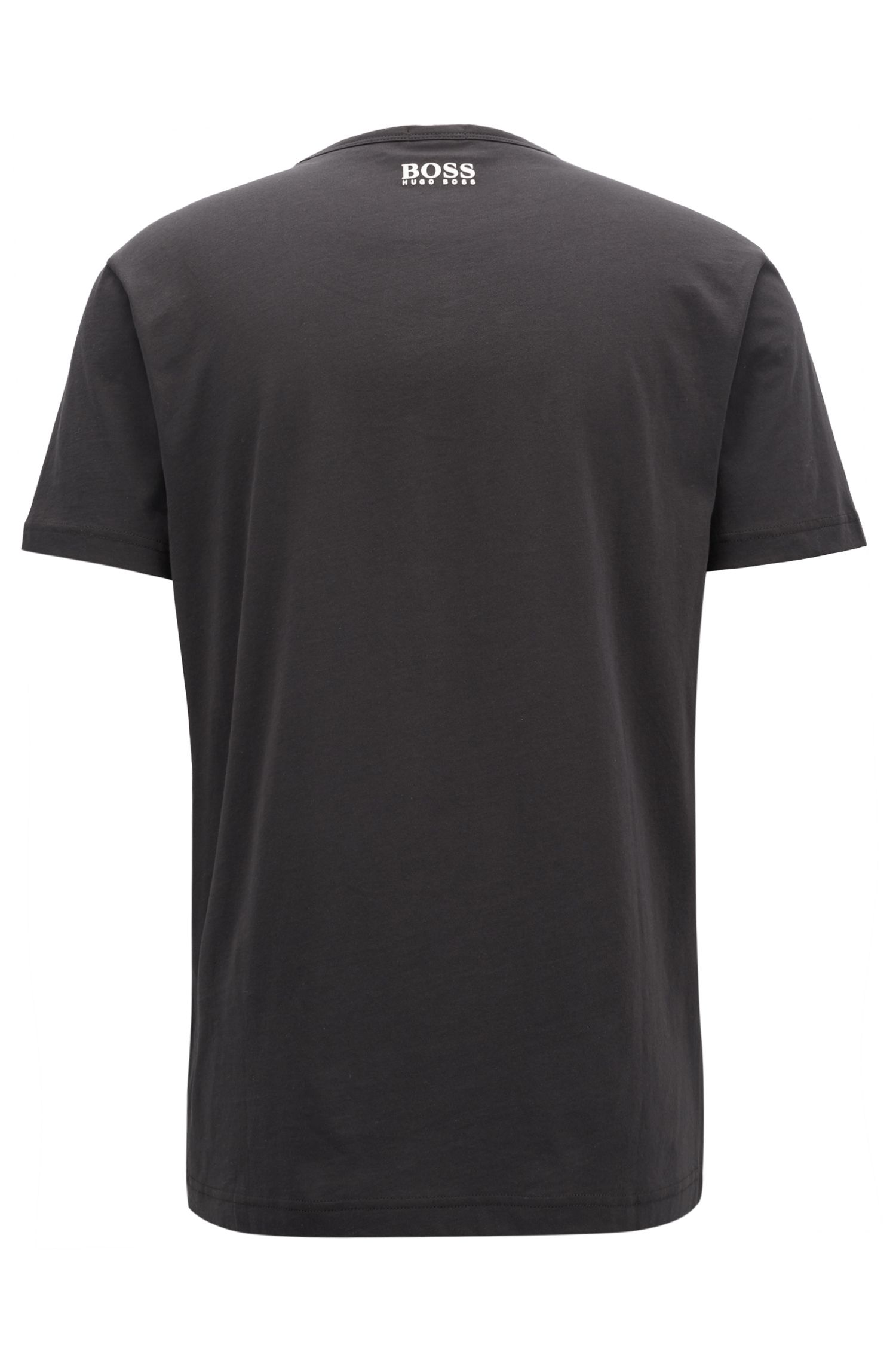 Short-sleeved graphic T-shirt in pure cotton, Black