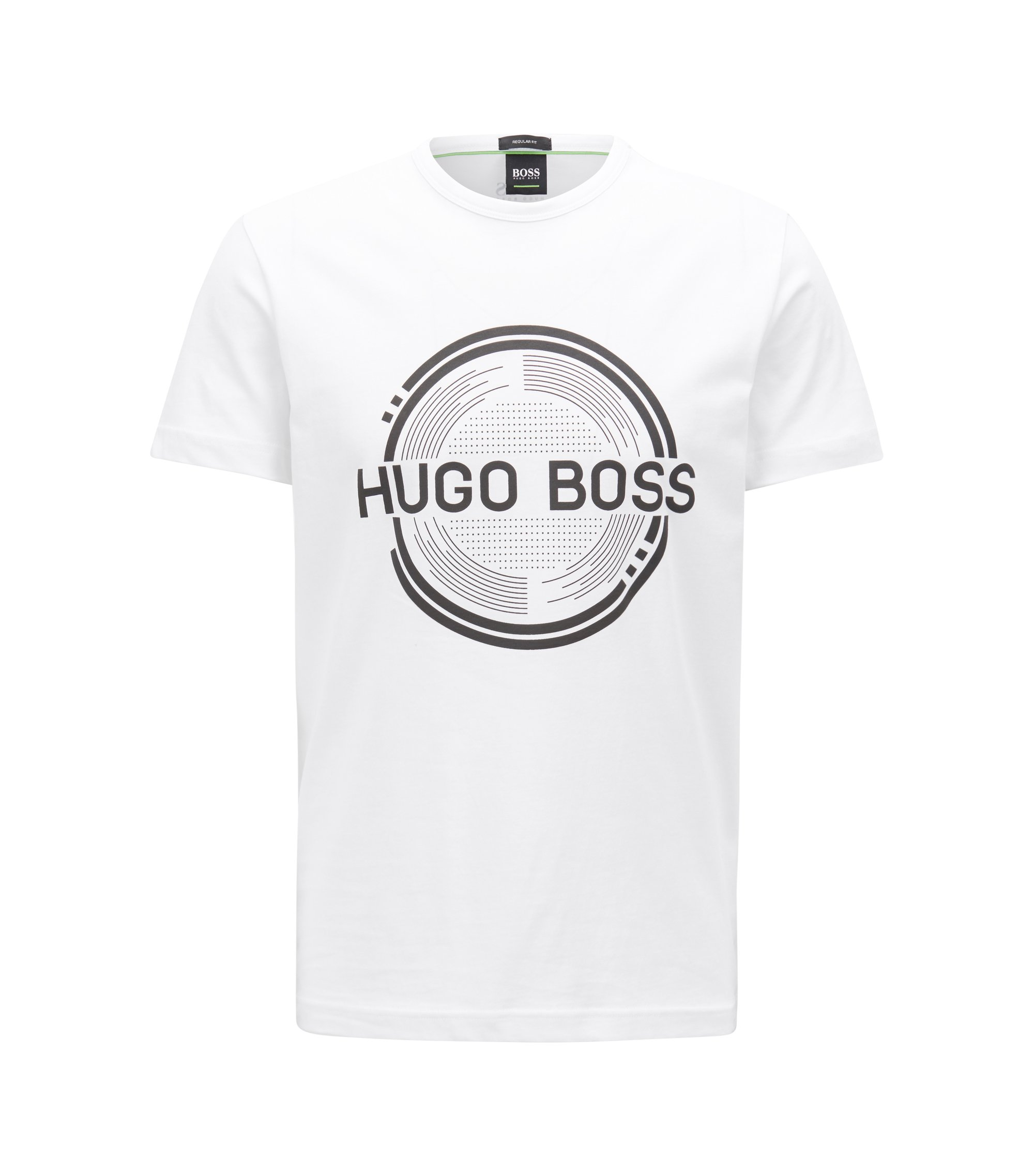 Short-sleeved printed T-shirt in single-jersey cotton, White