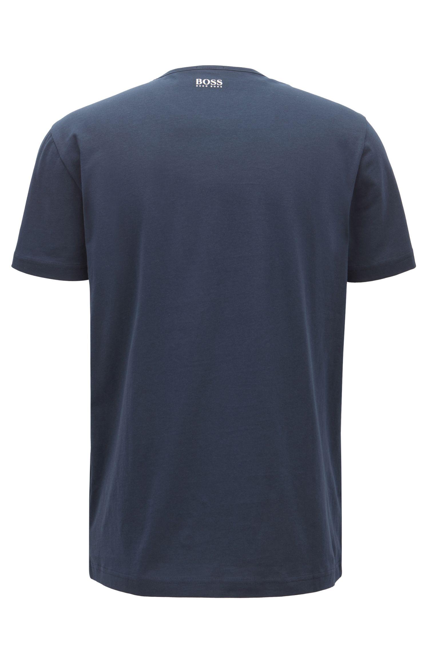 Short-sleeved printed T-shirt in single-jersey cotton, Dark Blue