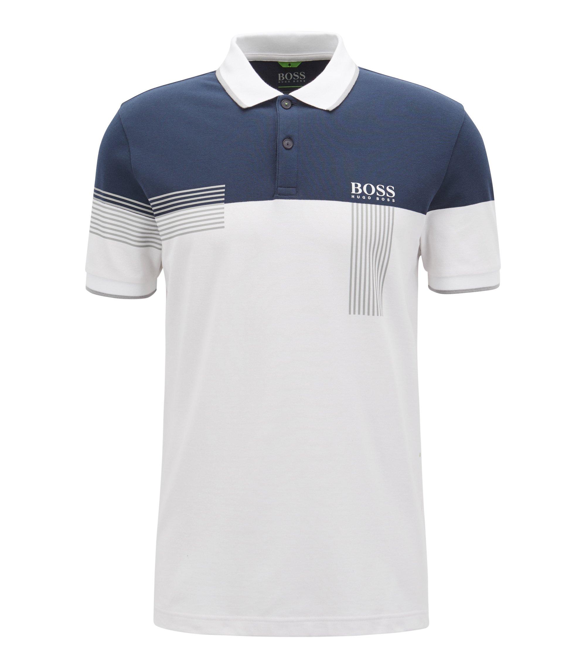 Regular-fit polo shirt in cotton-blend piqué, White