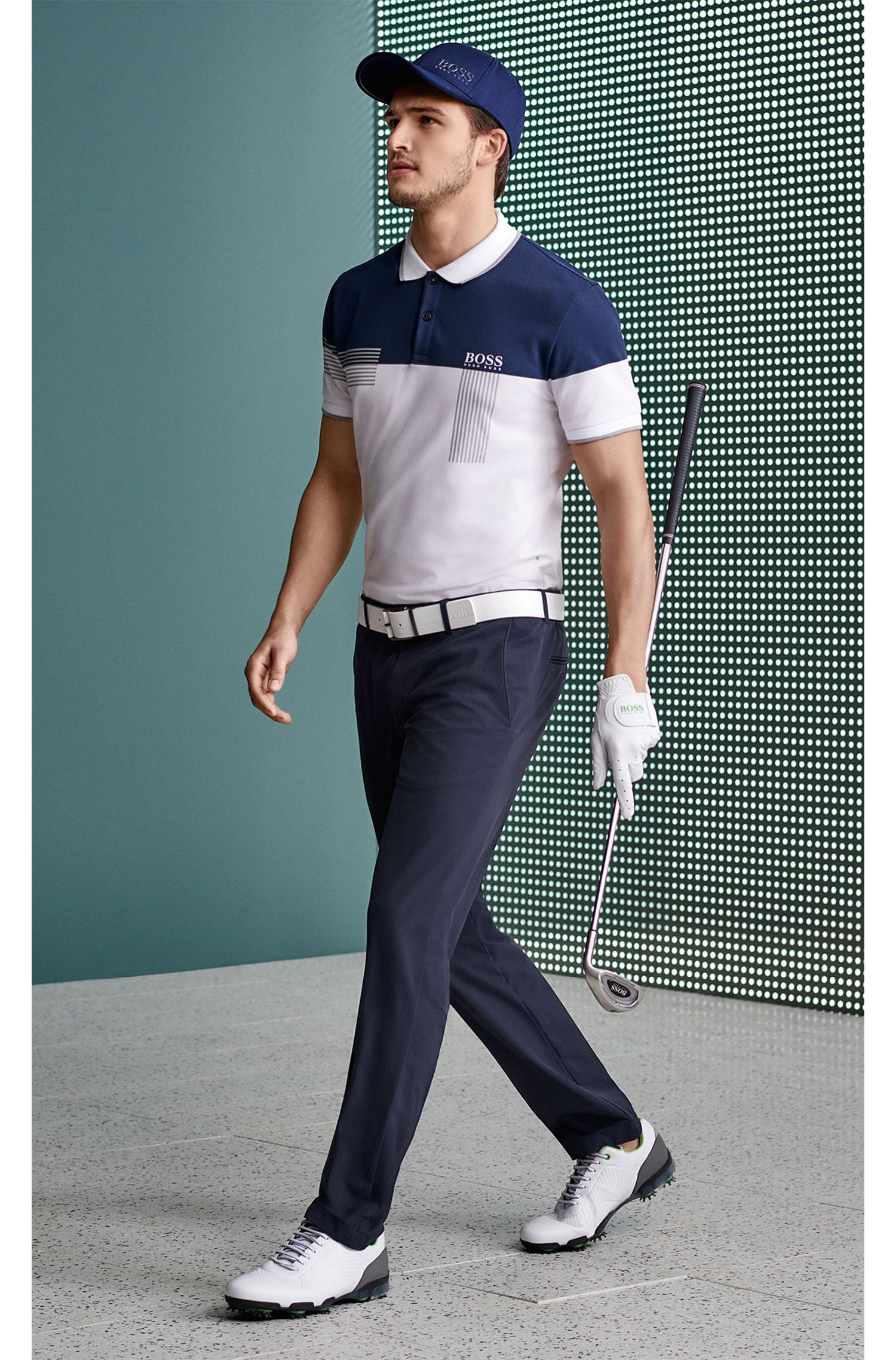 Regular-fit polo shirt in cotton-blend piqué, White