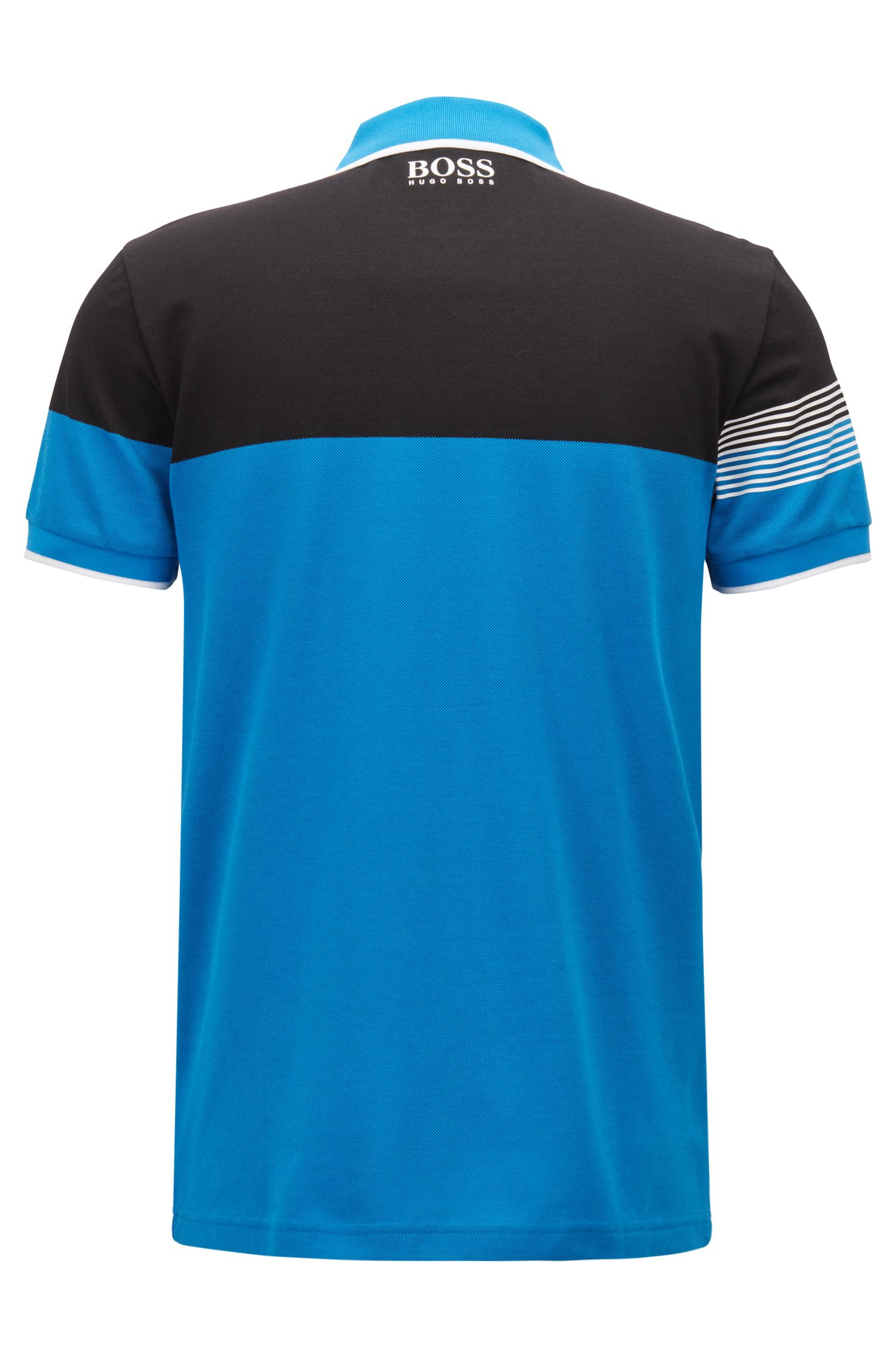 Regular-fit polo shirt in cotton-blend piqué, Blue