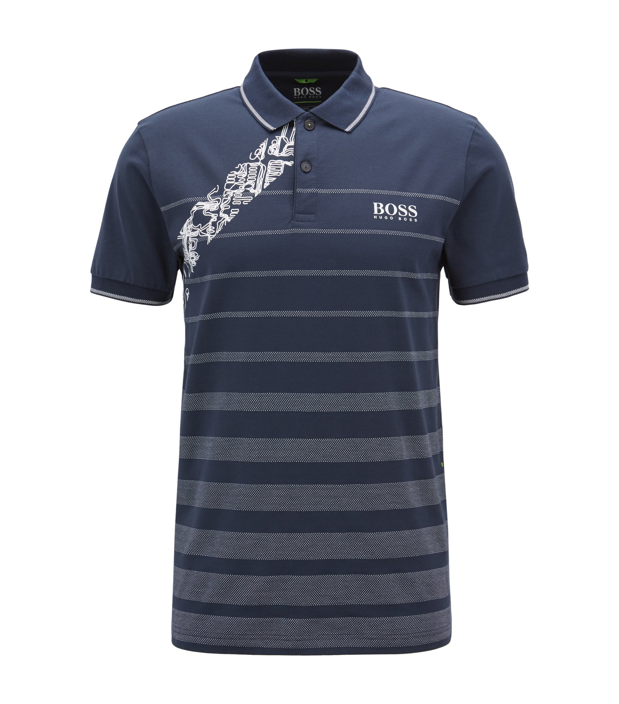 Cotton jacquard polo shirt with moisture management, Dark Blue