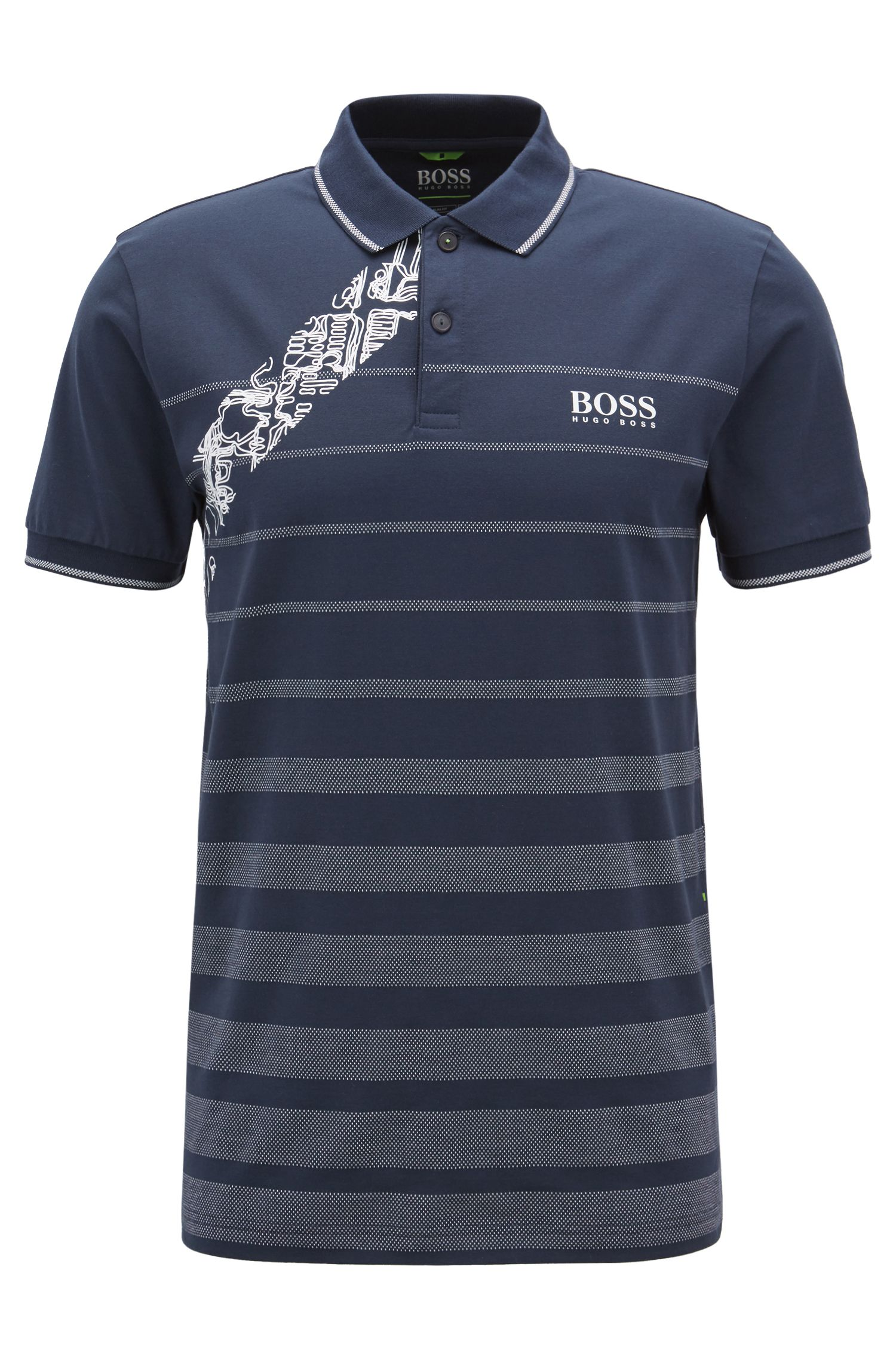 Cotton jacquard polo shirt with moisture management