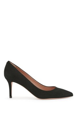 Suede court shoes with 70mm heel, Black