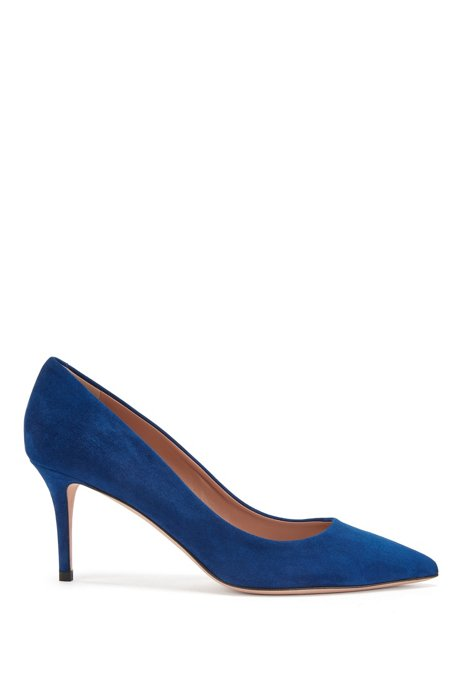 Suede court shoes with 70mm heel, Light Blue