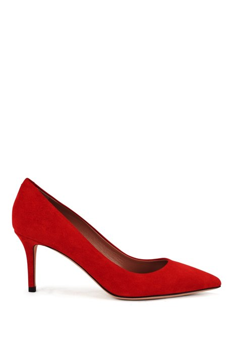 Suede court shoes with 70mm heel, Red