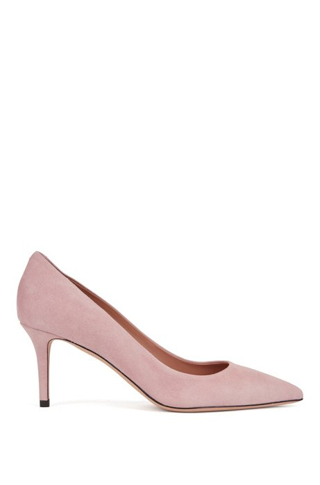Suede court shoes with 70mm – 2.76inch heel, light pink