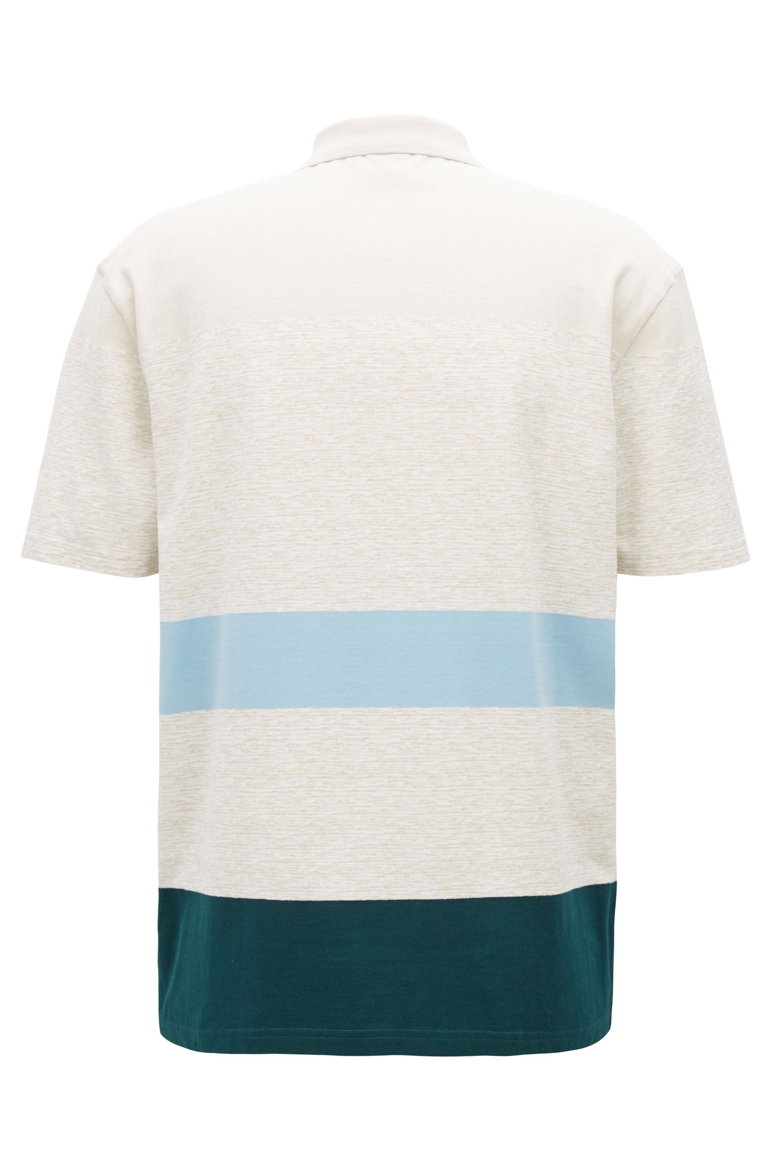 Striped patterned cotton polo shirt, White