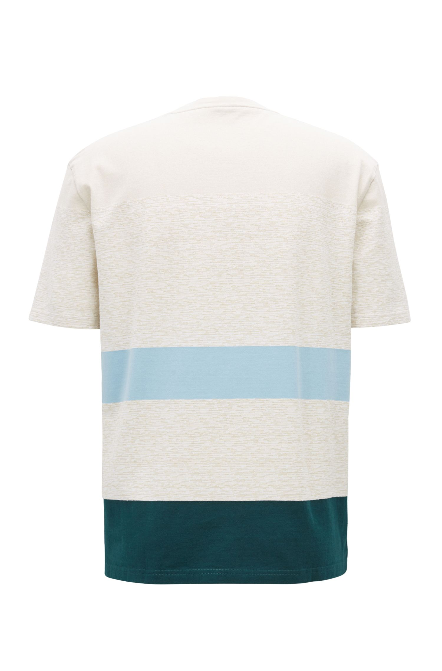 Striped patterned cotton jersey T-shirt, White