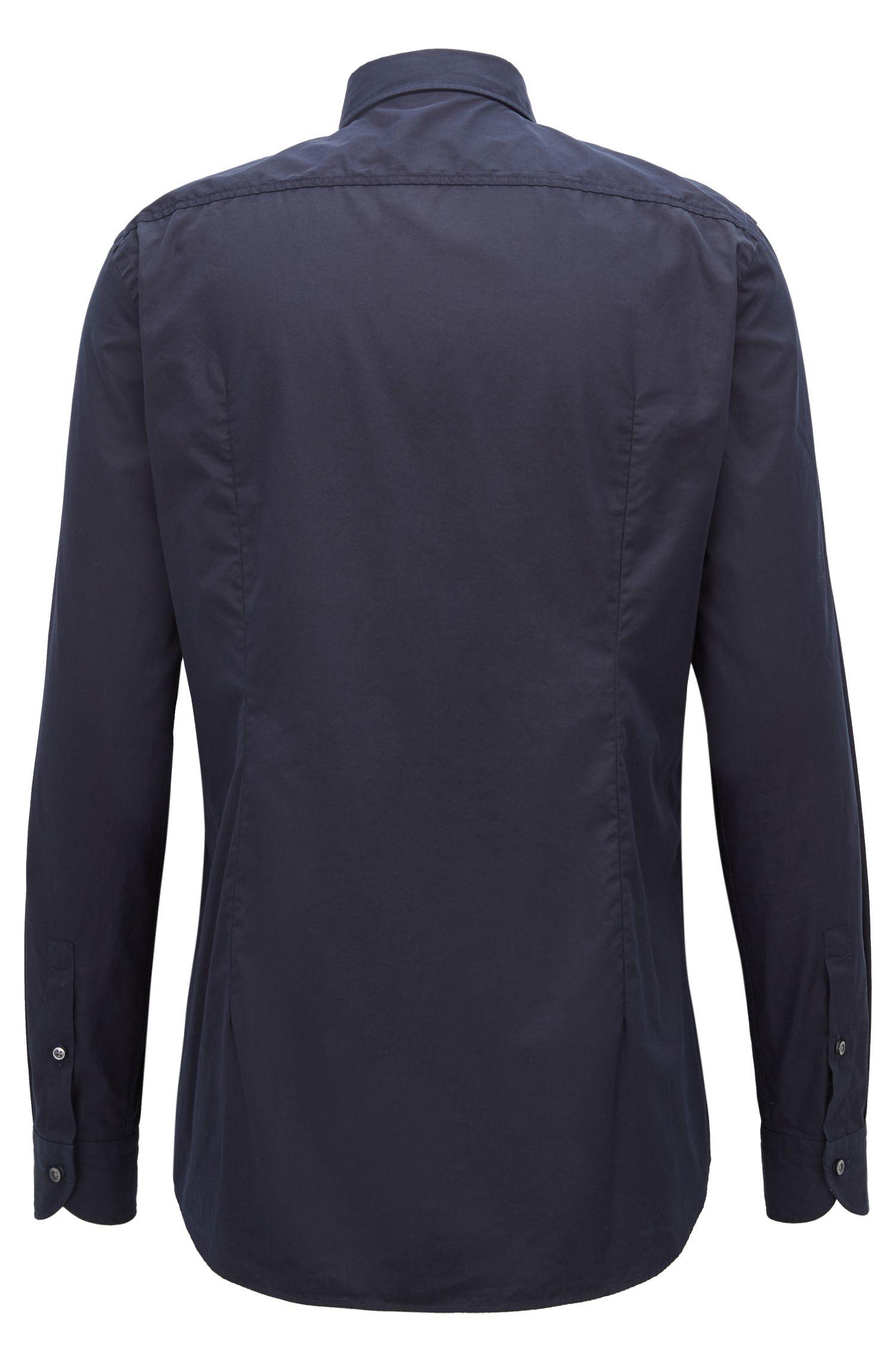 Slim-fit shirt in Italian-made cotton poplin, Dark Blue