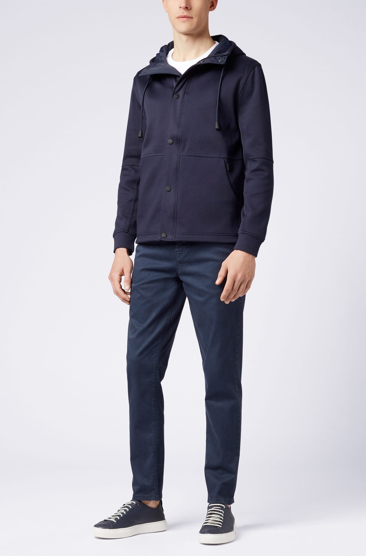 Relaxed-fit jersey jacket with dual-textured outer, Dark Blue