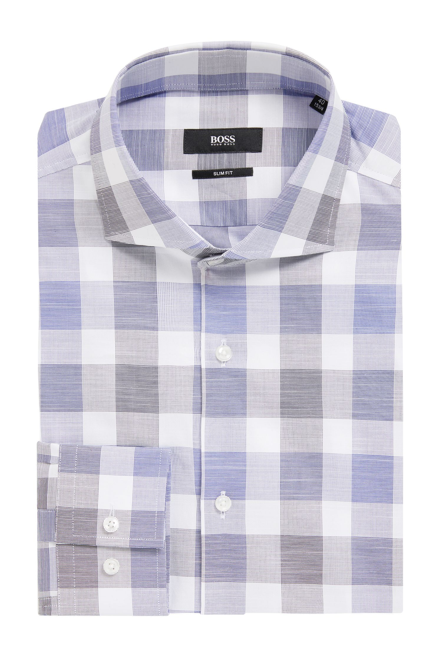 Slim-fit cotton Oxford shirt with Vichy check, Open Blue
