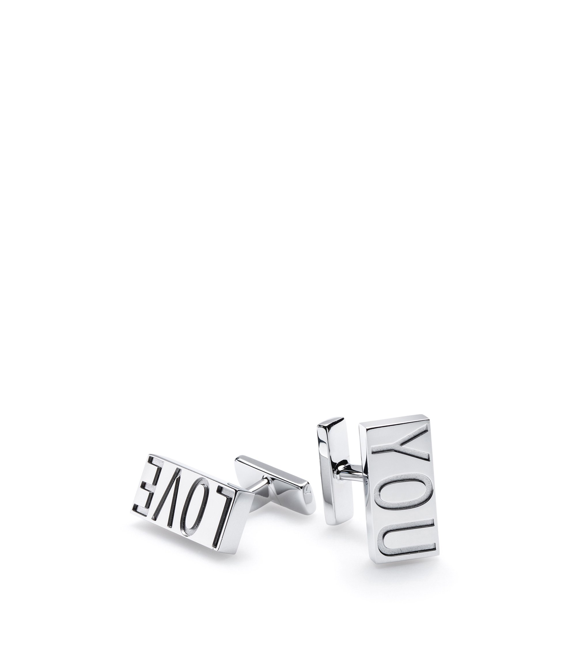 Rectangular 'Love You' cufflinks in polished metal, Silver