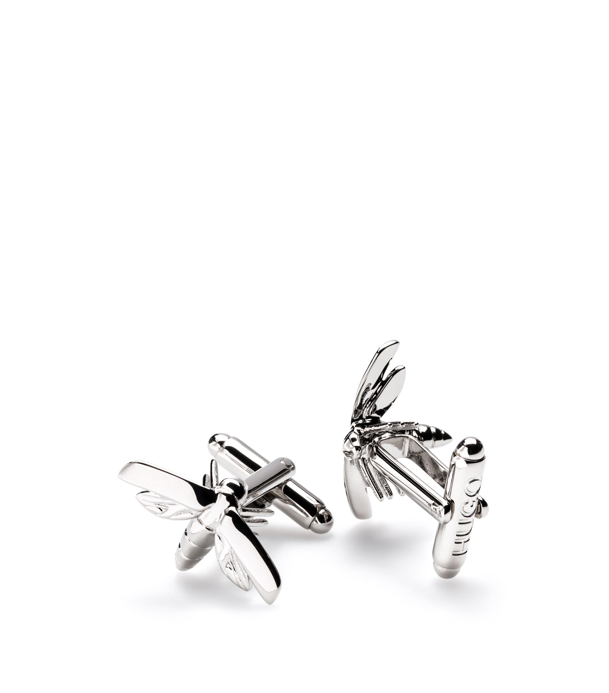 Firefly cufflinks in polished metal, Silver