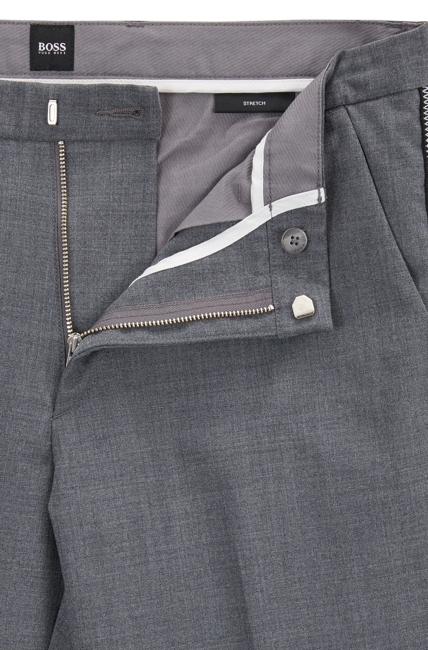 Slim-fit chinos in mercerized stretch fabric, Grey
