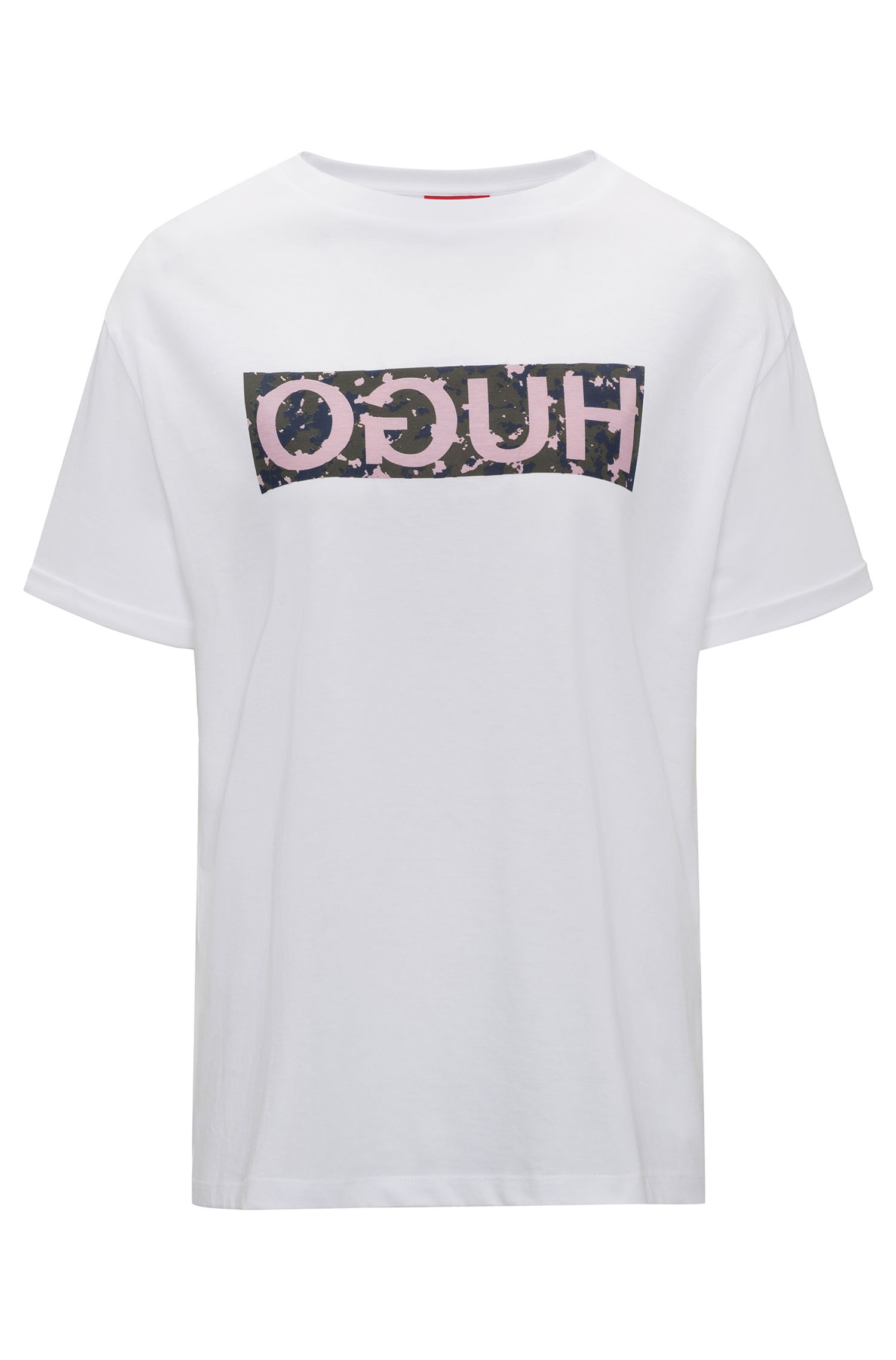 Relaxed-fit T-shirt in cotton with reverse logo print, Dark pink
