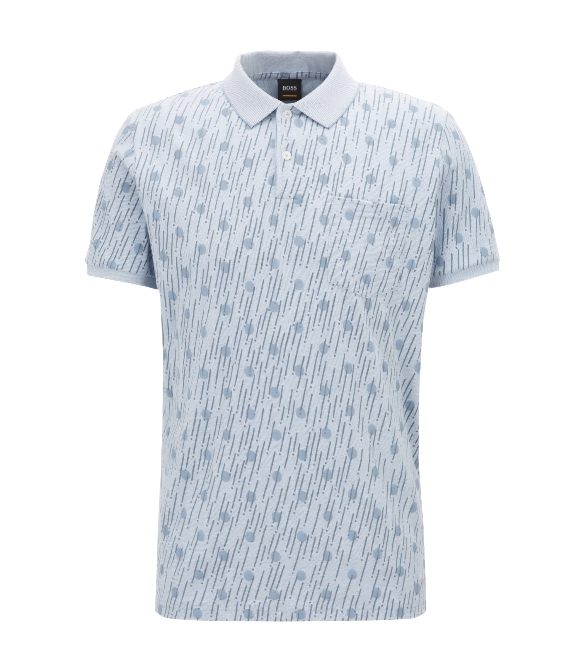 Relaxed-fit printed cotton polo shirt, Light Blue