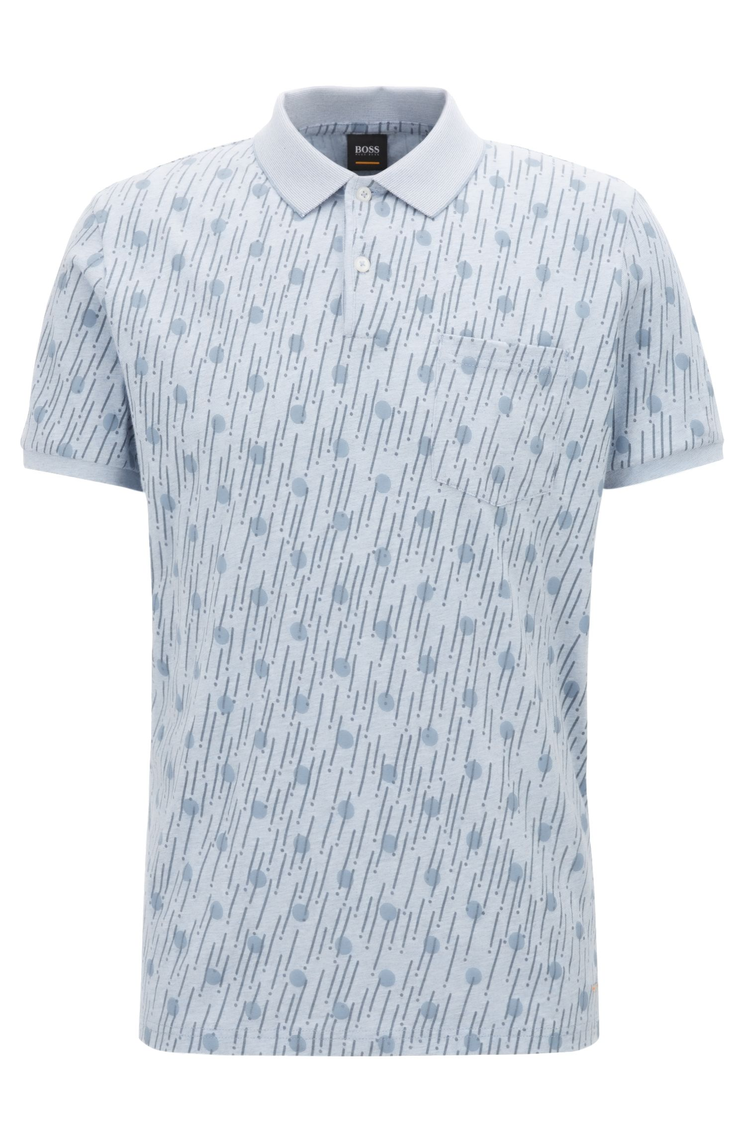 Relaxed-fit printed cotton polo shirt