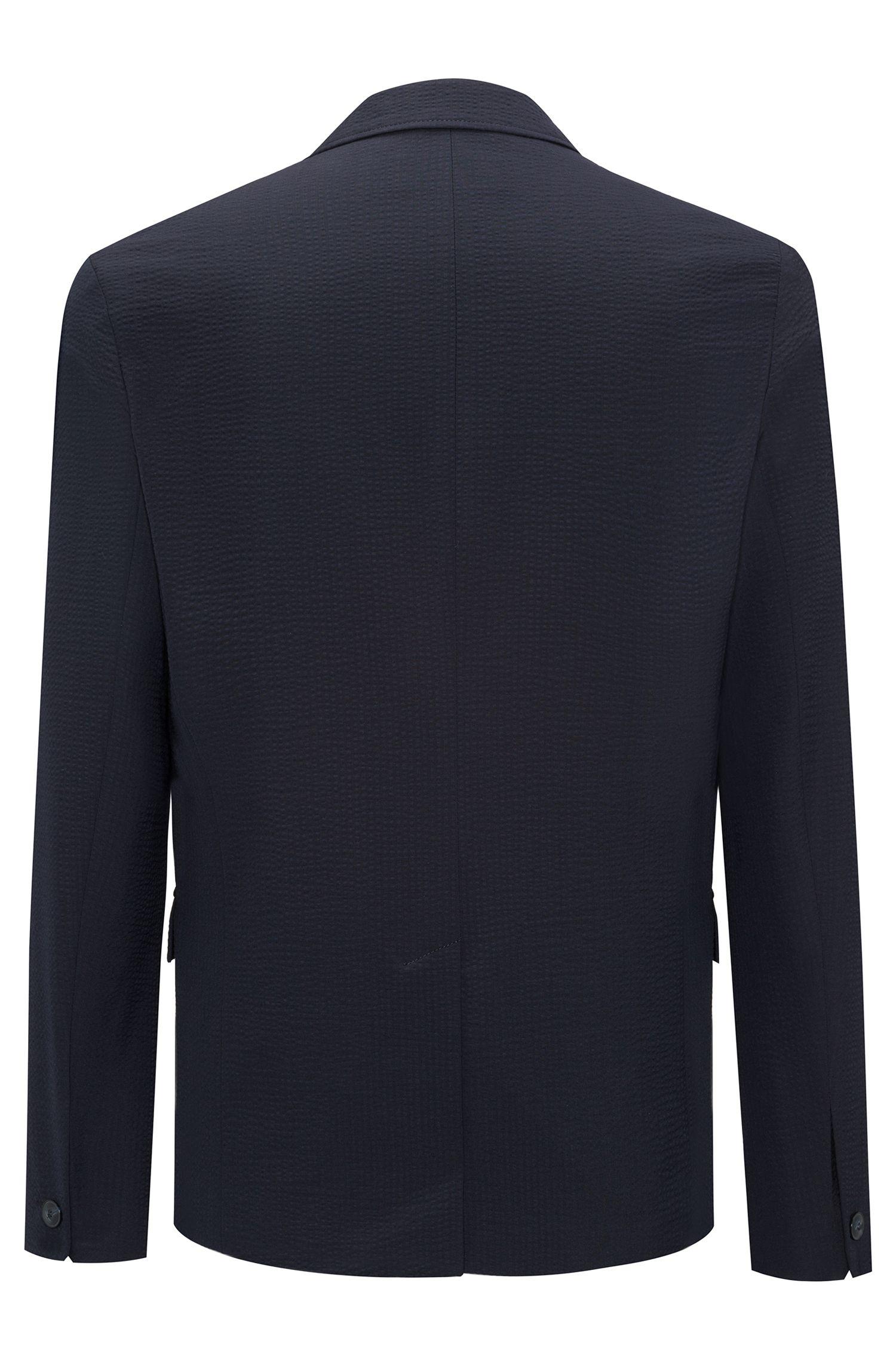 Slim-fit blazer in yarn-dyed seersucker , Dark Blue
