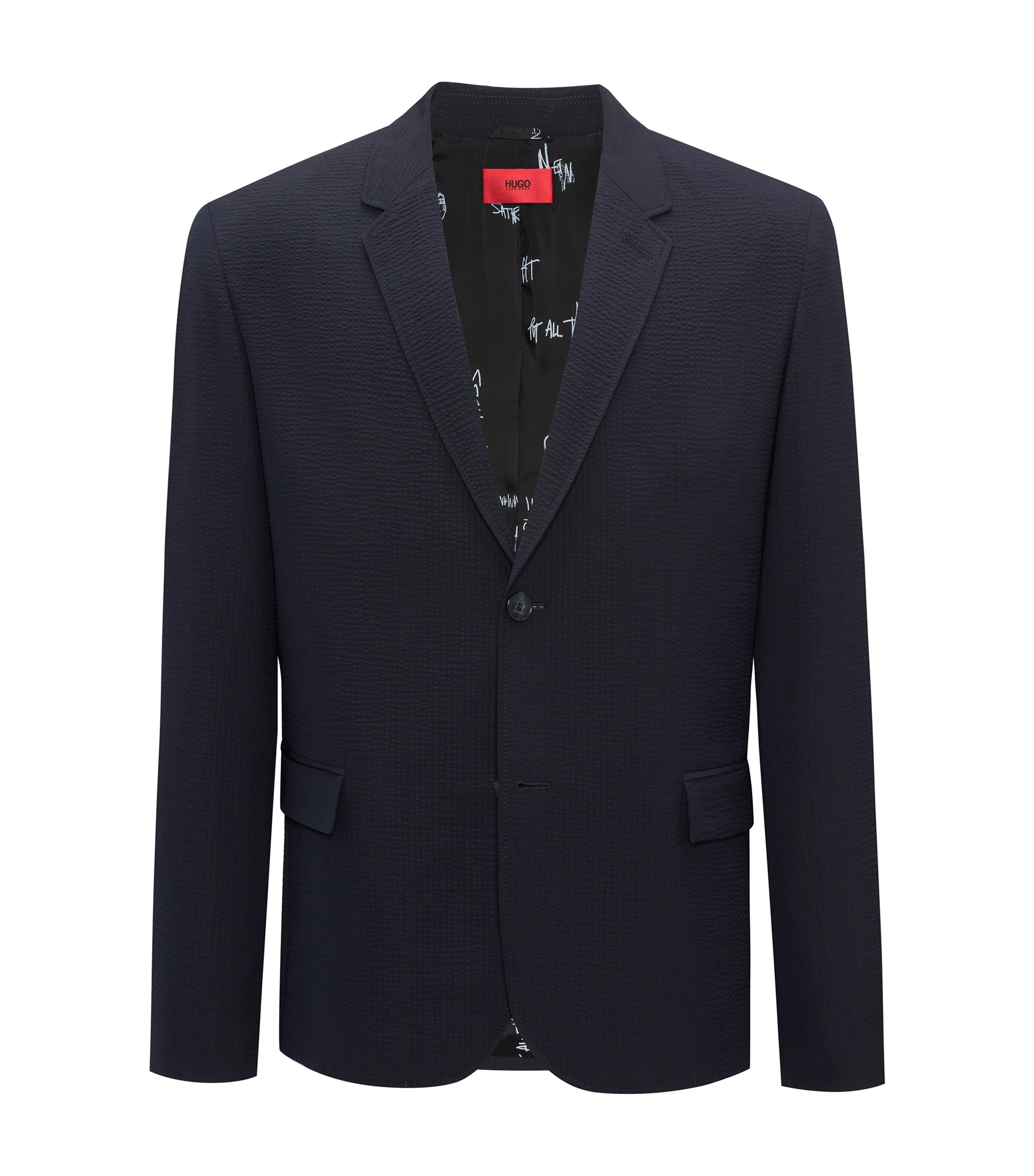 Slim-fit blazer in yarn-dyed seersucker , Dark Blue